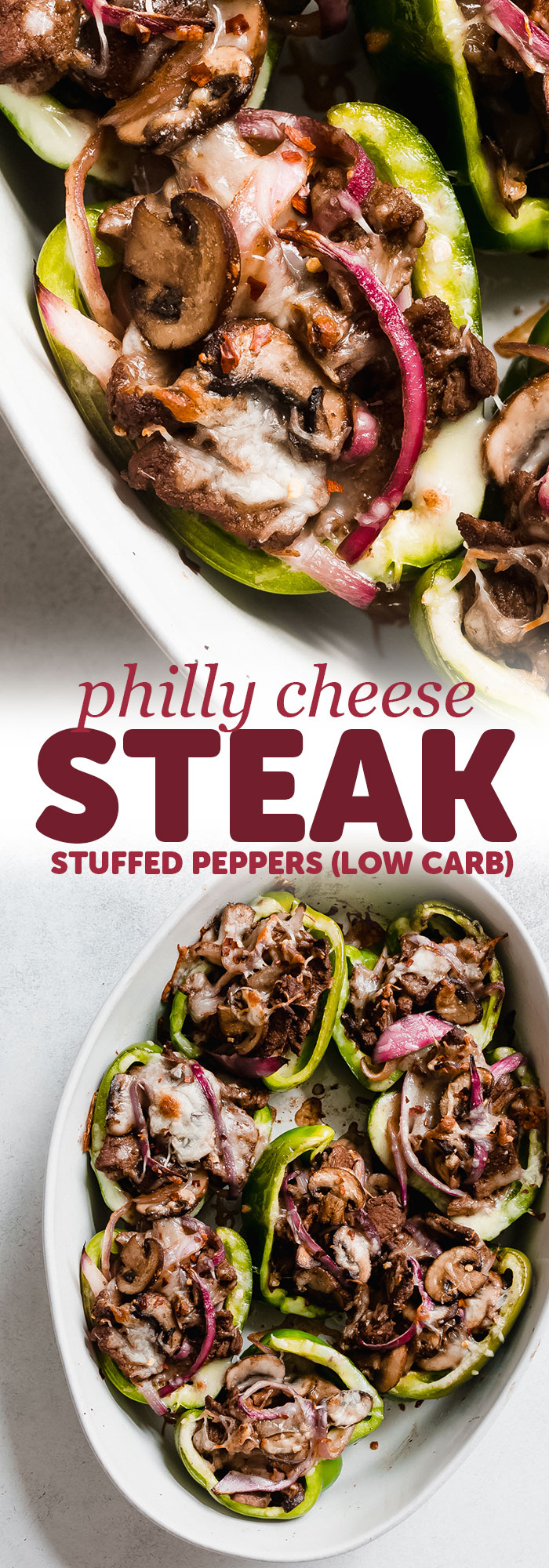 Philly Cheesesteak Stuffed Peppers - Learn how to make a low carb version of Philly Cheesesteak! These peppers are so colorful and filling even those who don't care about low carb eating will love them! #lowcarb #lowcarbrecipes #phillycheesesteak #phillycheesesteakstuffedpeppers #stuffedpeppers #lowcarbcheesesteak | Littlespicejar.com