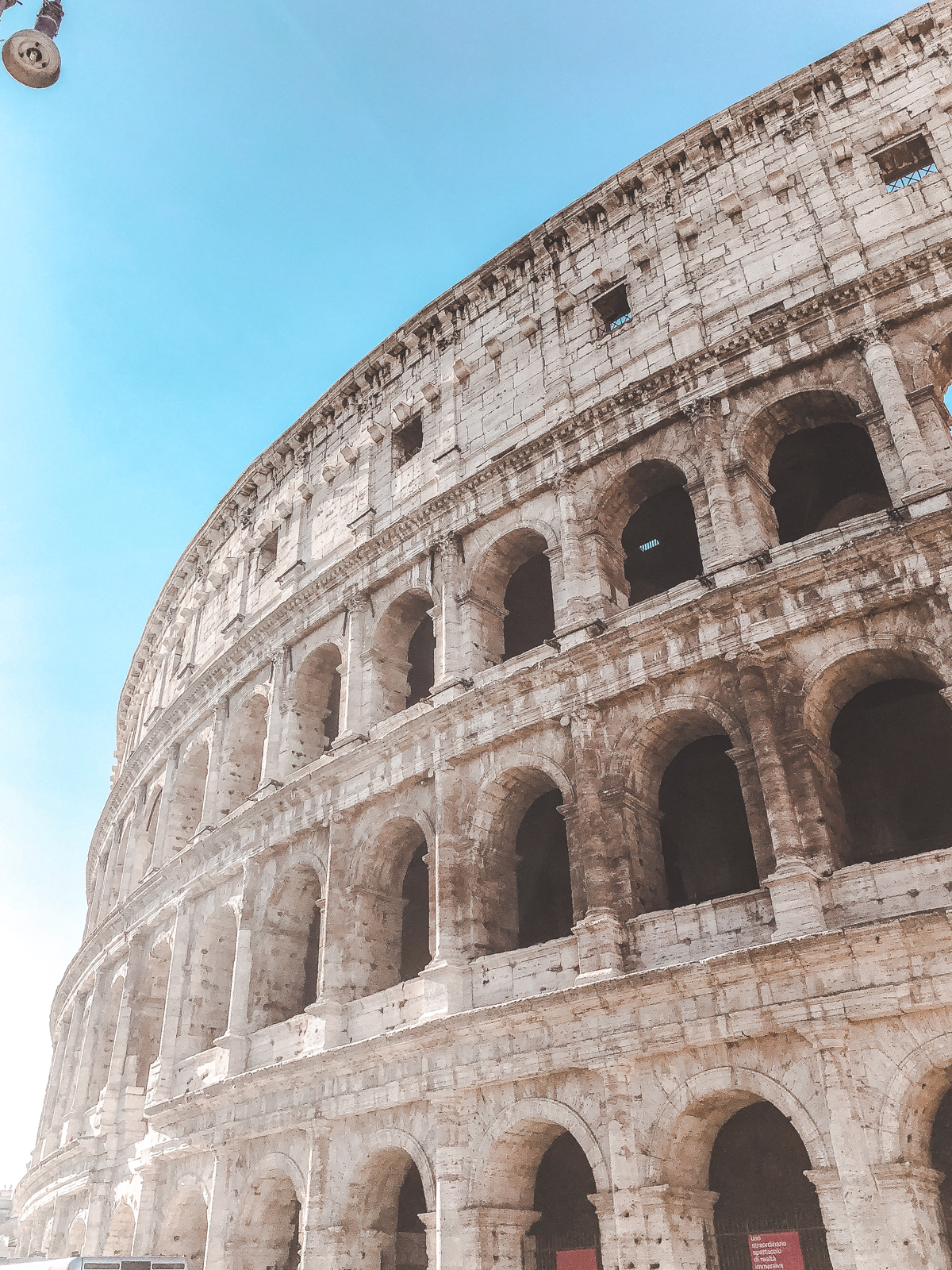 a shot from below the Roman Colosseum