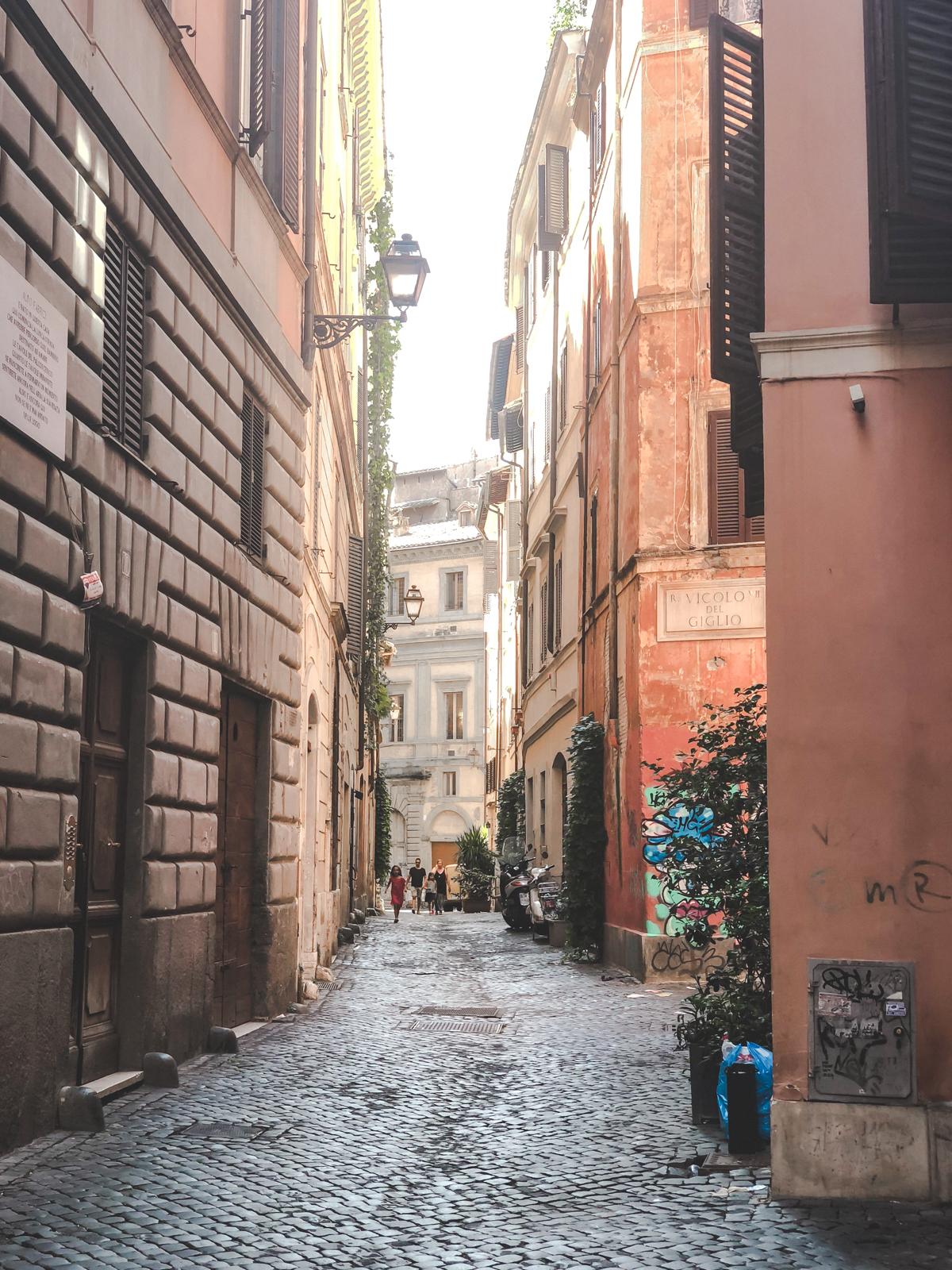 cobblestone streets of Rome