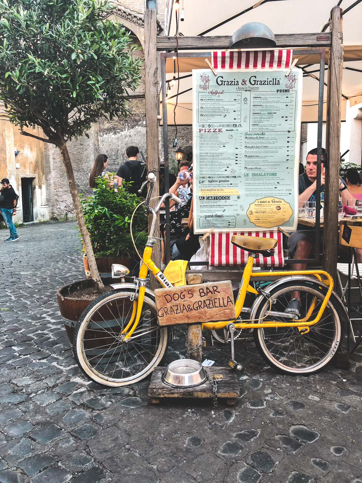 outside at Grazia & Graziella in Trastevere