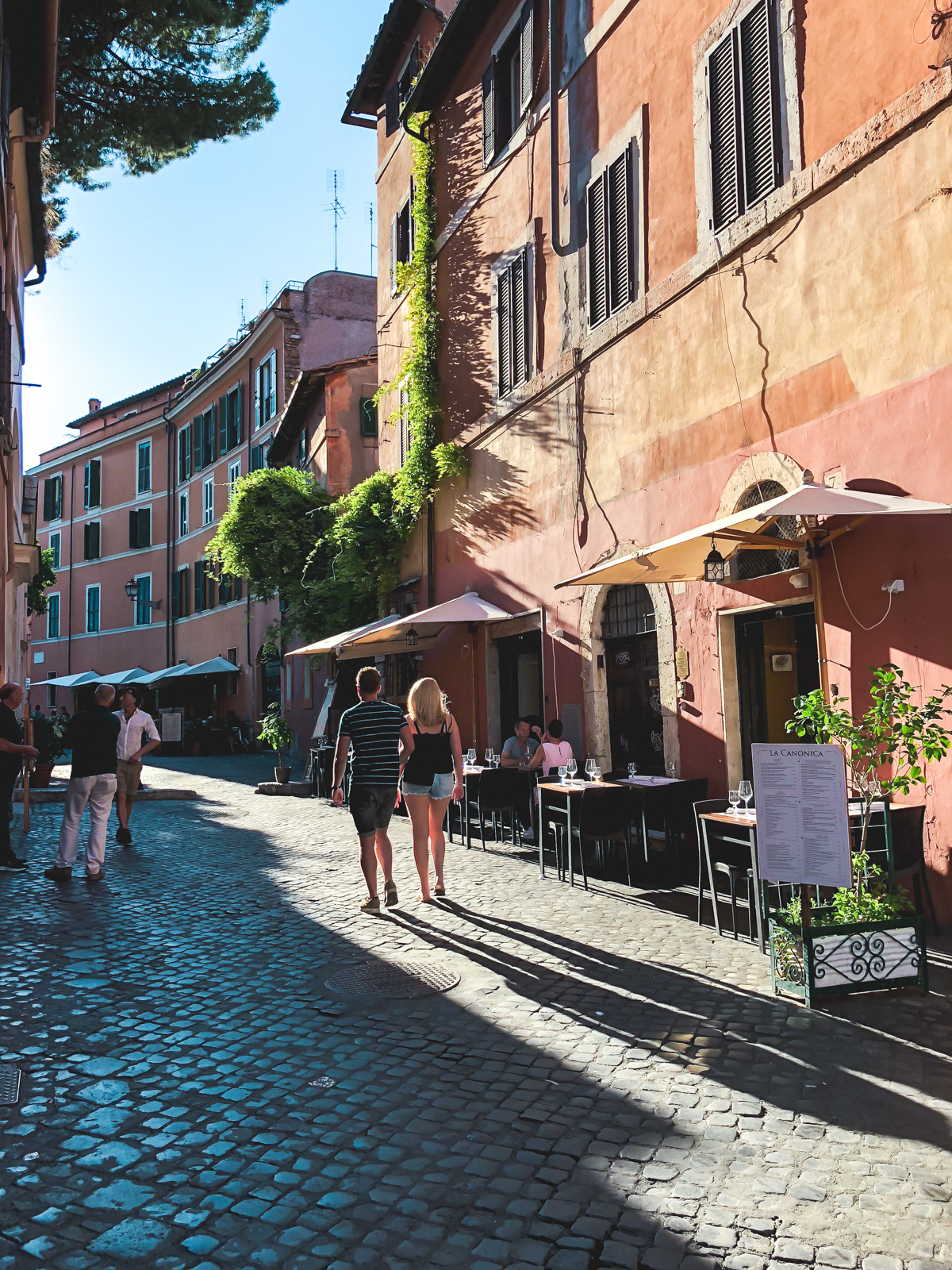 walking the streets of Trastevere just before sunset