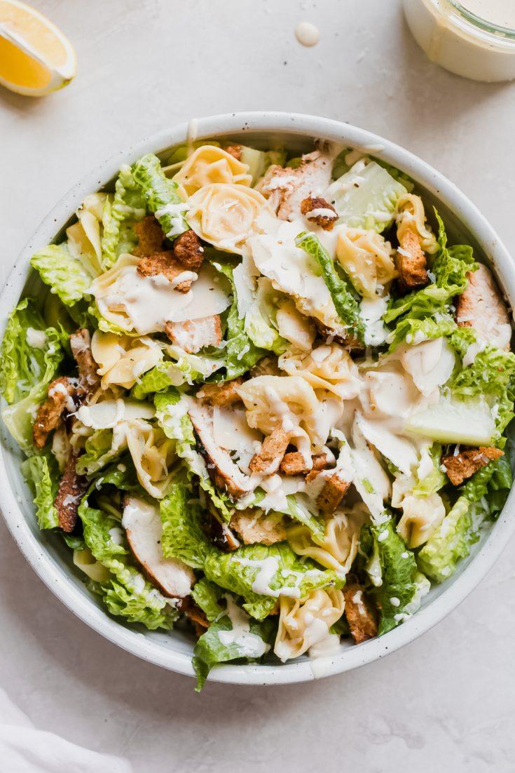 Creamy Chicken Tortellini Caesar Salad