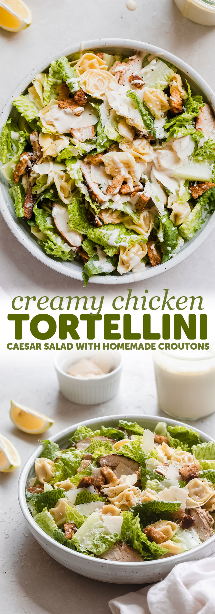 Creamy Chicken Tortellini Caesar Salad - Homemade croutons, homemade dressing, grilled chicken, fresh tortellini pasta, and crisp romaine! This is the best Caesar salad! #caesarsaladdressing #caesarsalad #tortellinicaesar #tortellinicaesarsalad #chickencaesarsalad #pastasalad | Littlespicejar.com