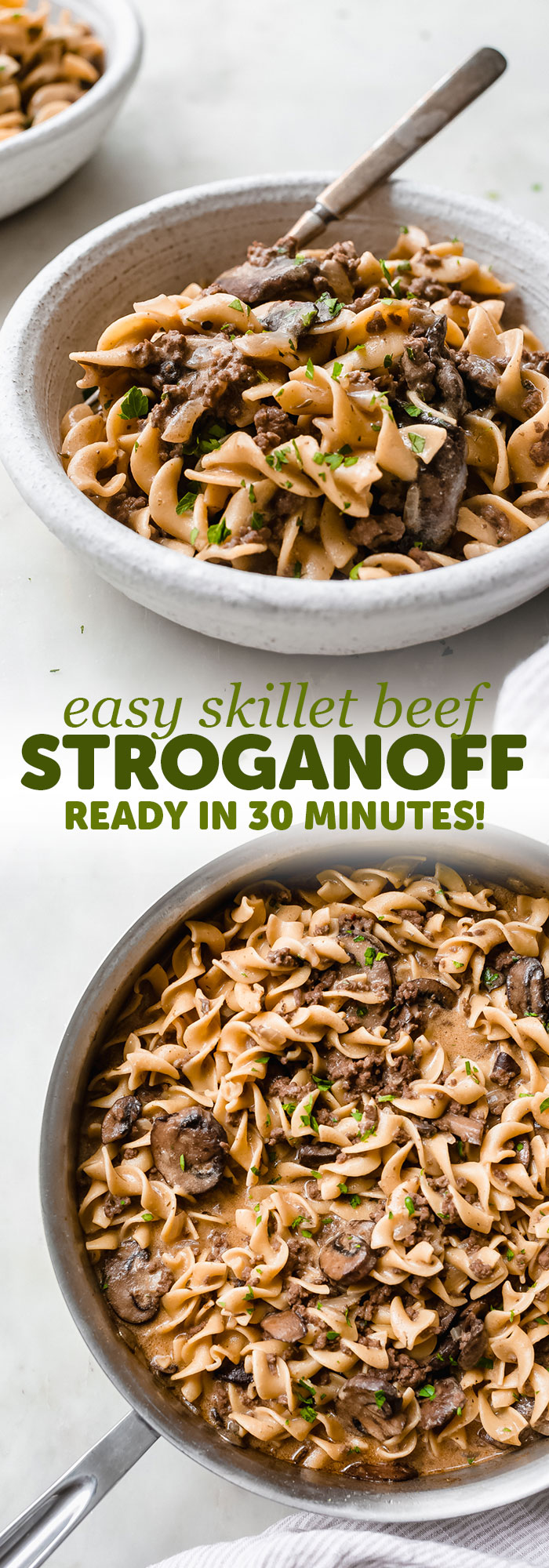 30-Minute Skillet Ground Beef Stroganoff - loaded with lots of flavor, this ground beef stroganoff is ready in 30 minutes and is sure to be a crowd pleaser! #stroganoff #onepotstroganoff #skilletstroganoff #groundbeefstroganoff #onepot #onepan #dinner | Littlespicejar.com