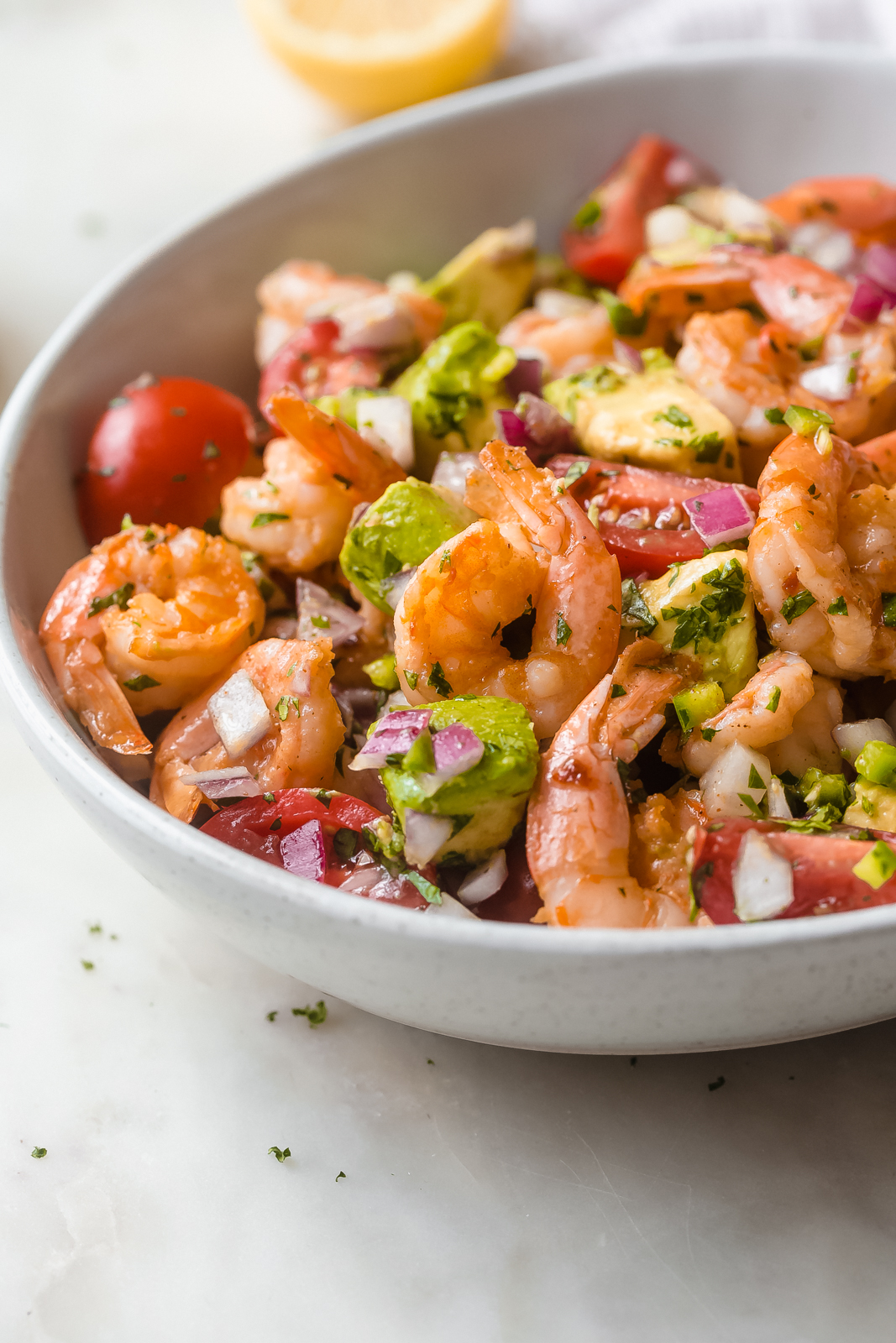 shrimp salad with avocados dressed with lemon cumin dressing