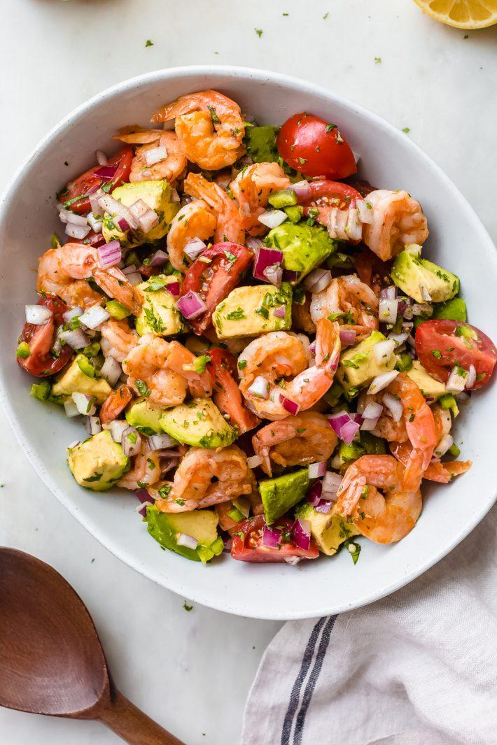 bowl of prepared Mexican shrimp salad