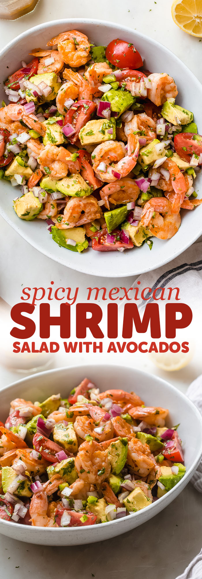 Mexican Shrimp Salad - Just 15 minutes to prepare from start to finish! Loaded with buttery avocados, tomatoes, sautéed shrimp, and a refreshing dressing! #shrimpsalad #mexicanshrimpsalad #shrimpavocadosalad #salad #dinnerrecipes #shrimprecipes | Littlespicejar.com
