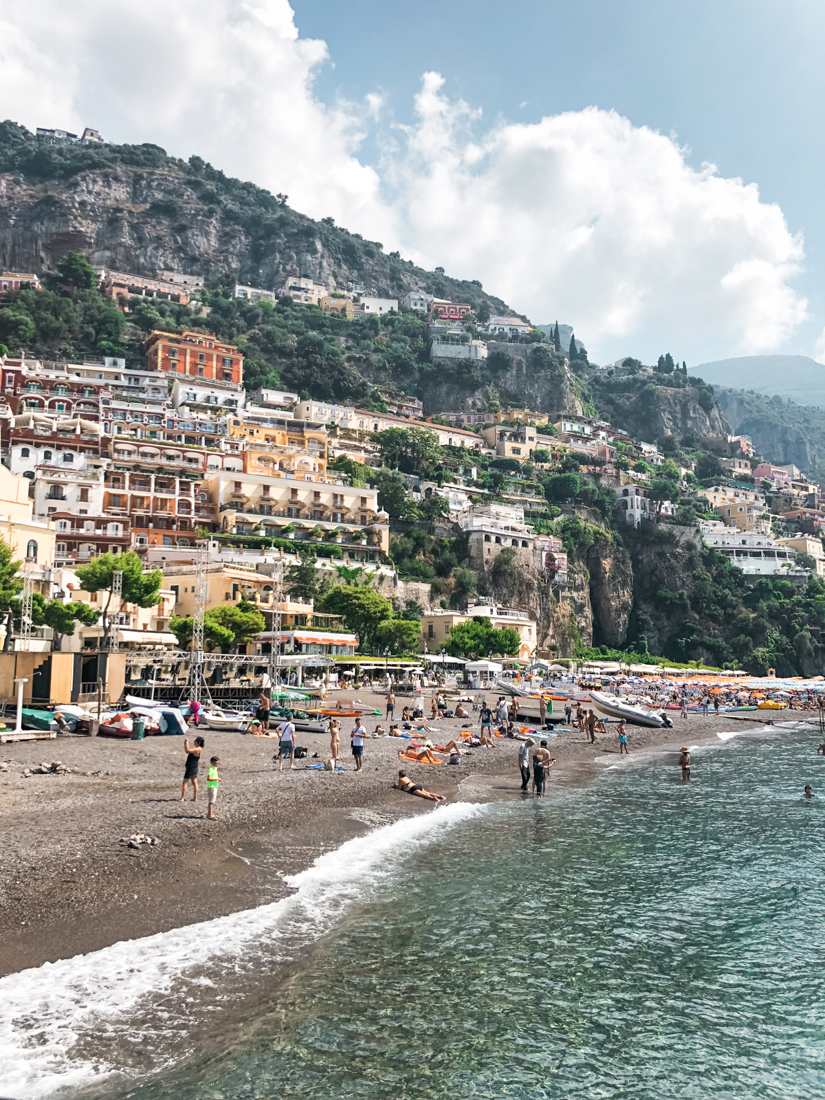 view of the buildings and homes from the beach of Positano