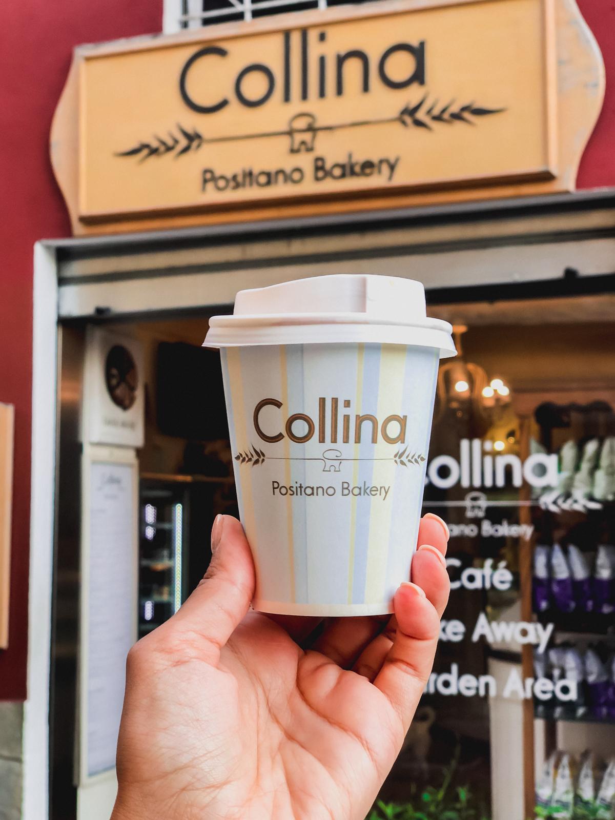 capacino to go from Collina bakery
