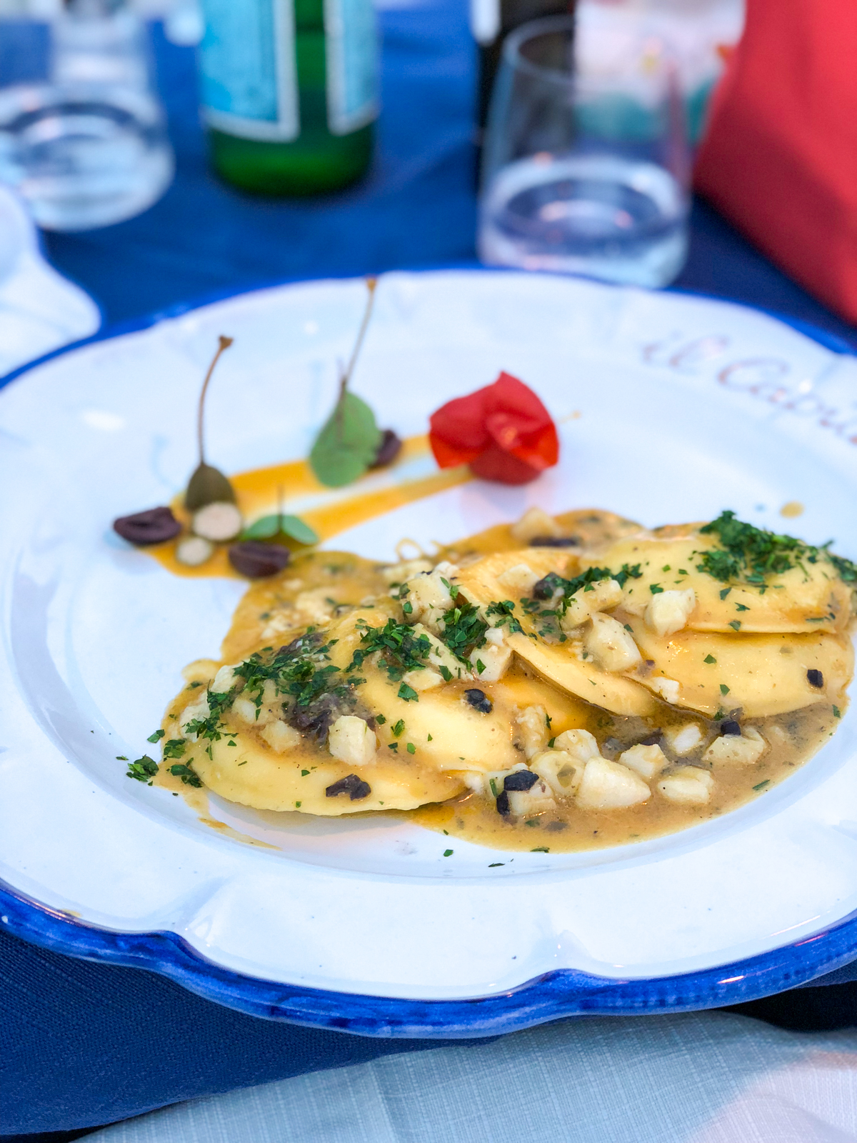 ravioli with cod in butter sauce
