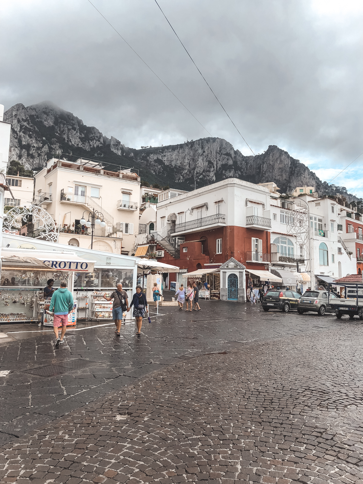 rainy, cloudy view when you arrive on Capri