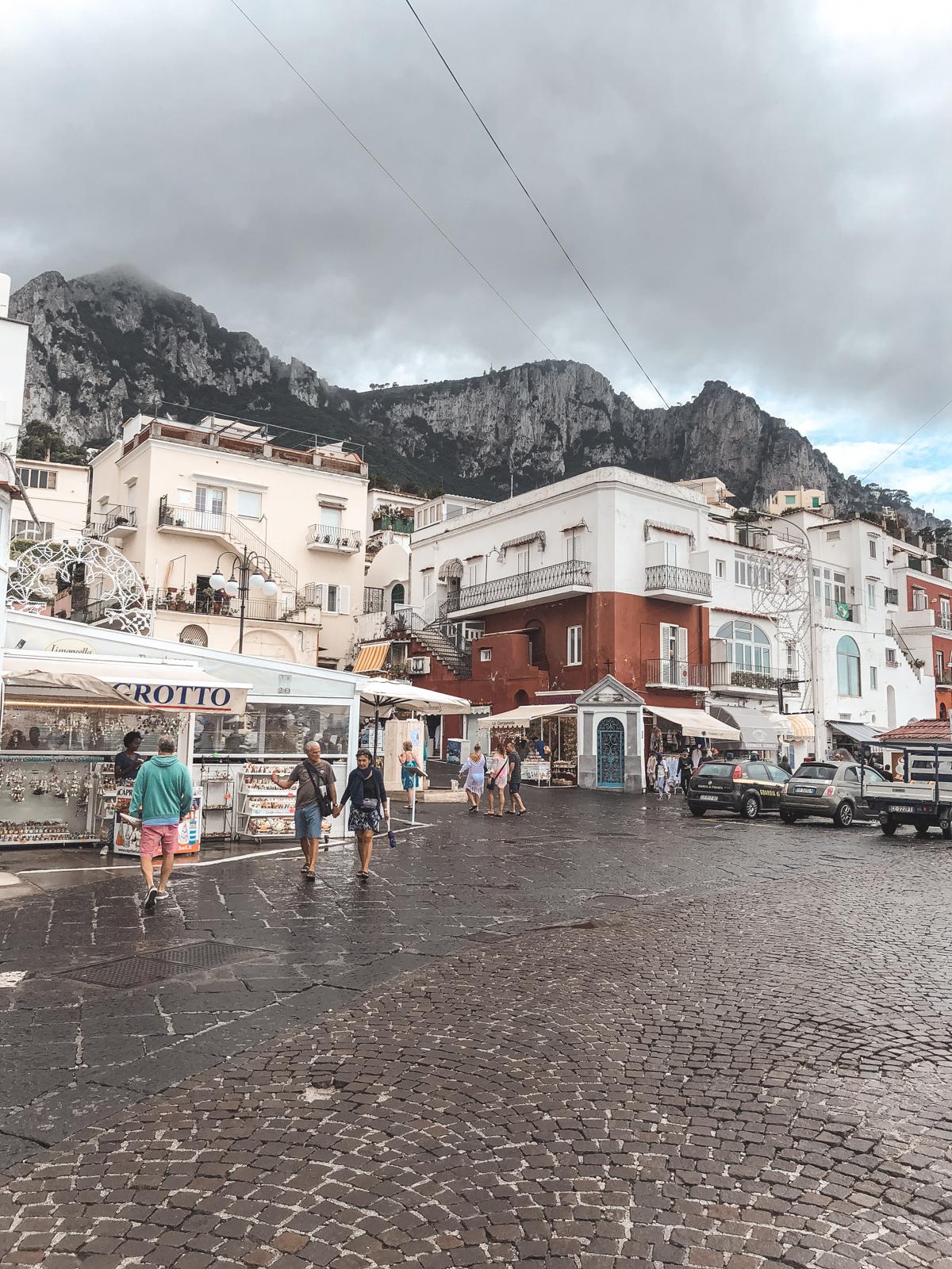rainy, cloudy view when you arrive on Capri