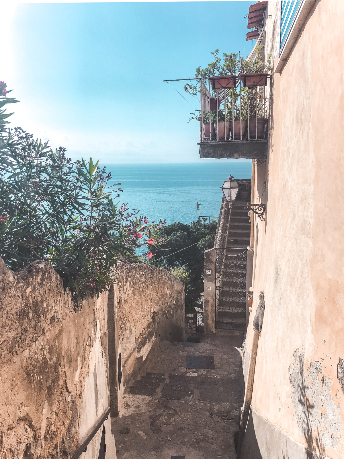 narrow stairways that lead to the beach in Positano
