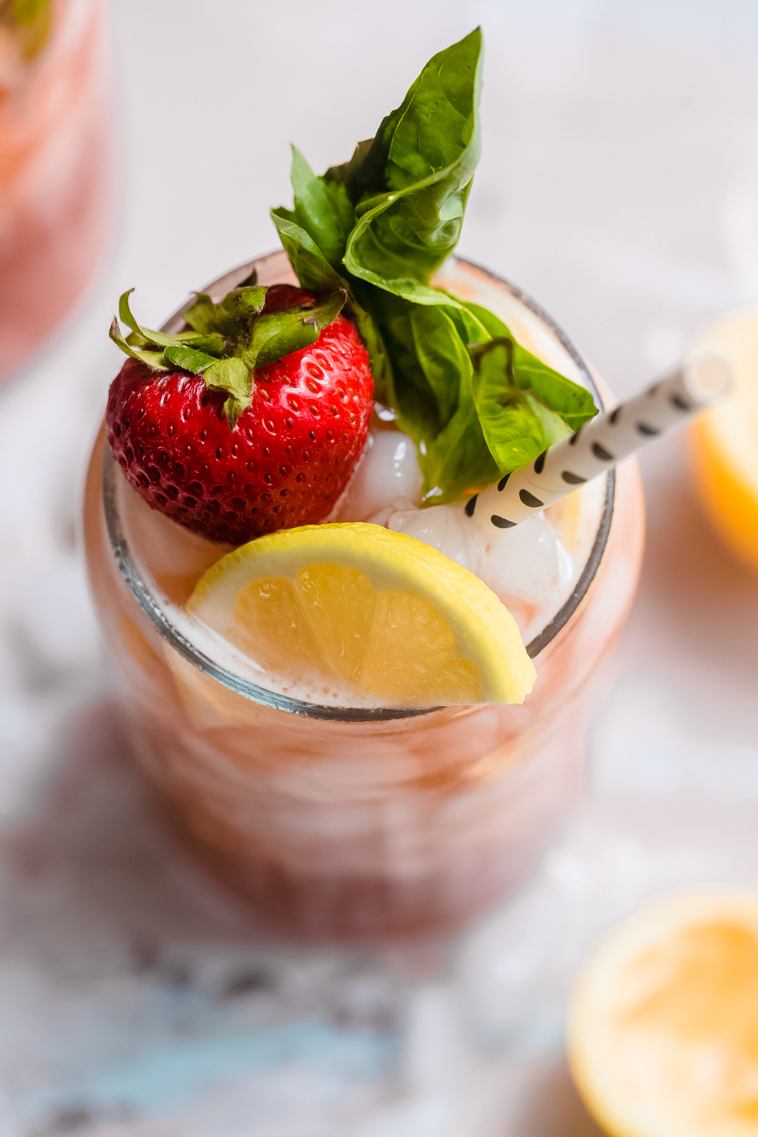 close up of strawberry basil lemonade