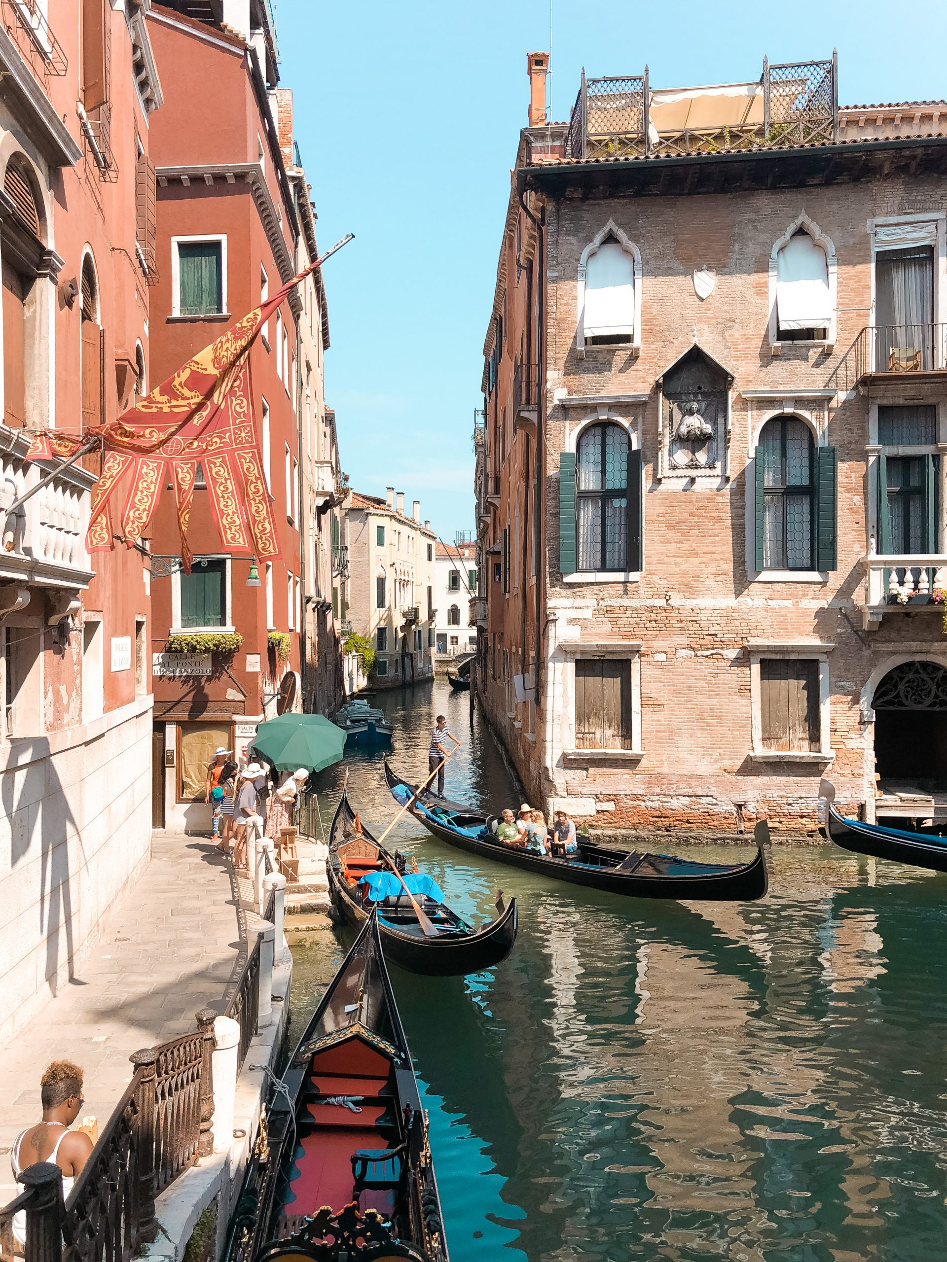 picture of large gondolas about to go through a small canal