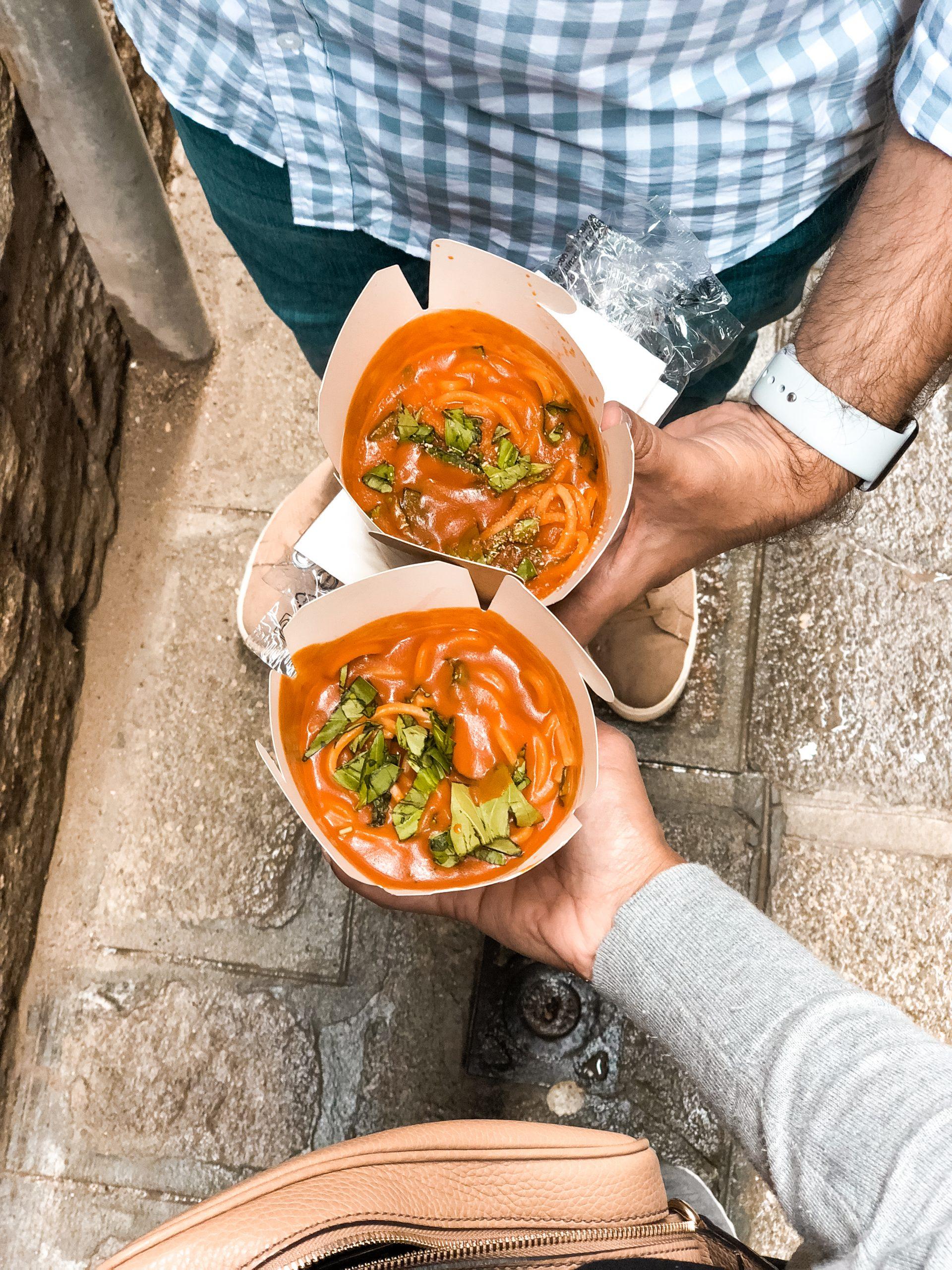tomato basil sauce on fresh pasta from pasta to go