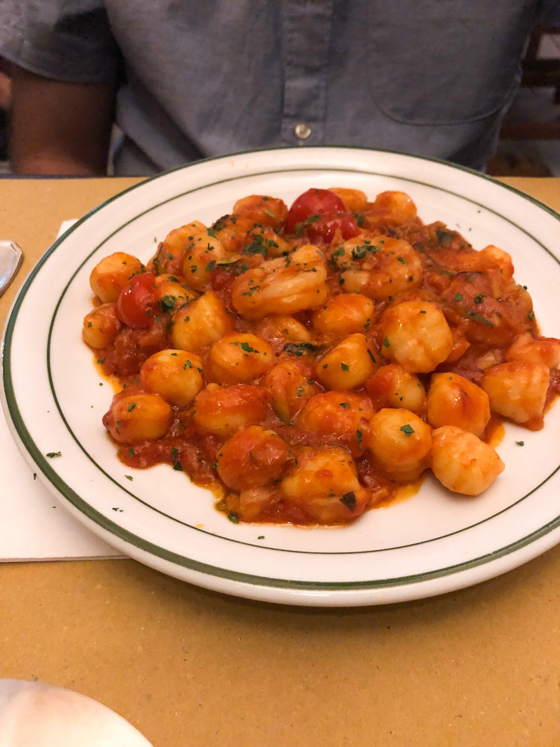 shrimp with gnocchi at Osteria del Cinghiale Bianco