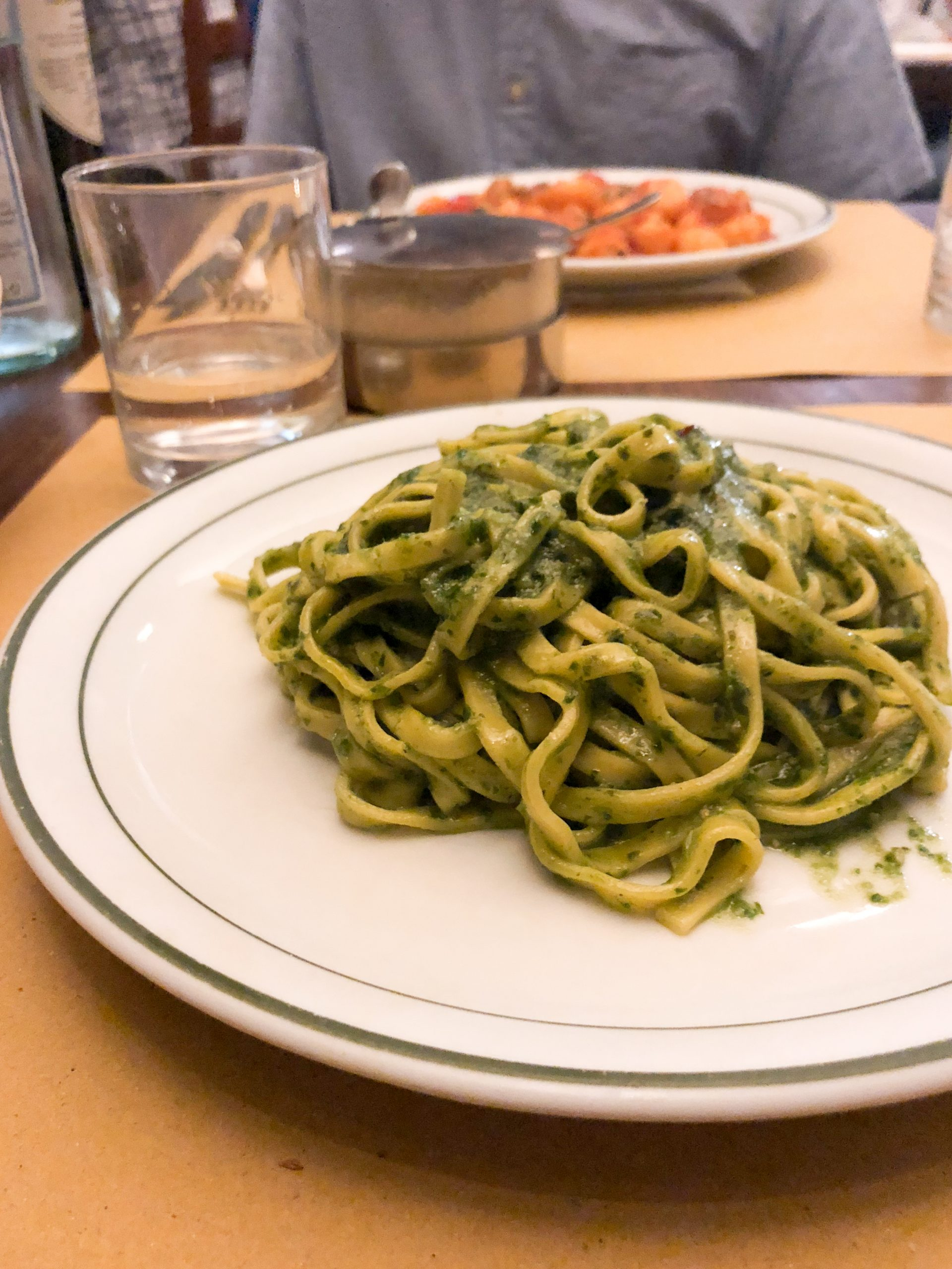 pesto with pesto genevese at Osteria del Cinghiale Bianco
