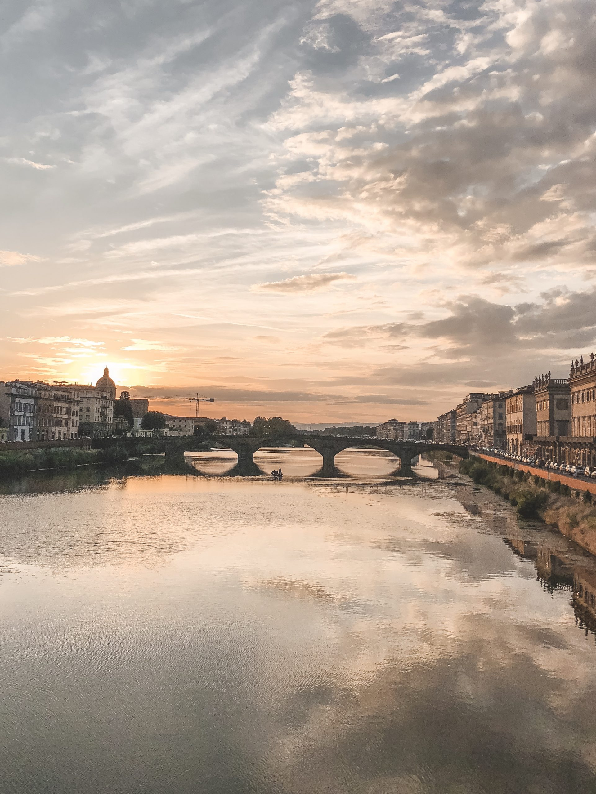 Florence with the sunsetting behind it