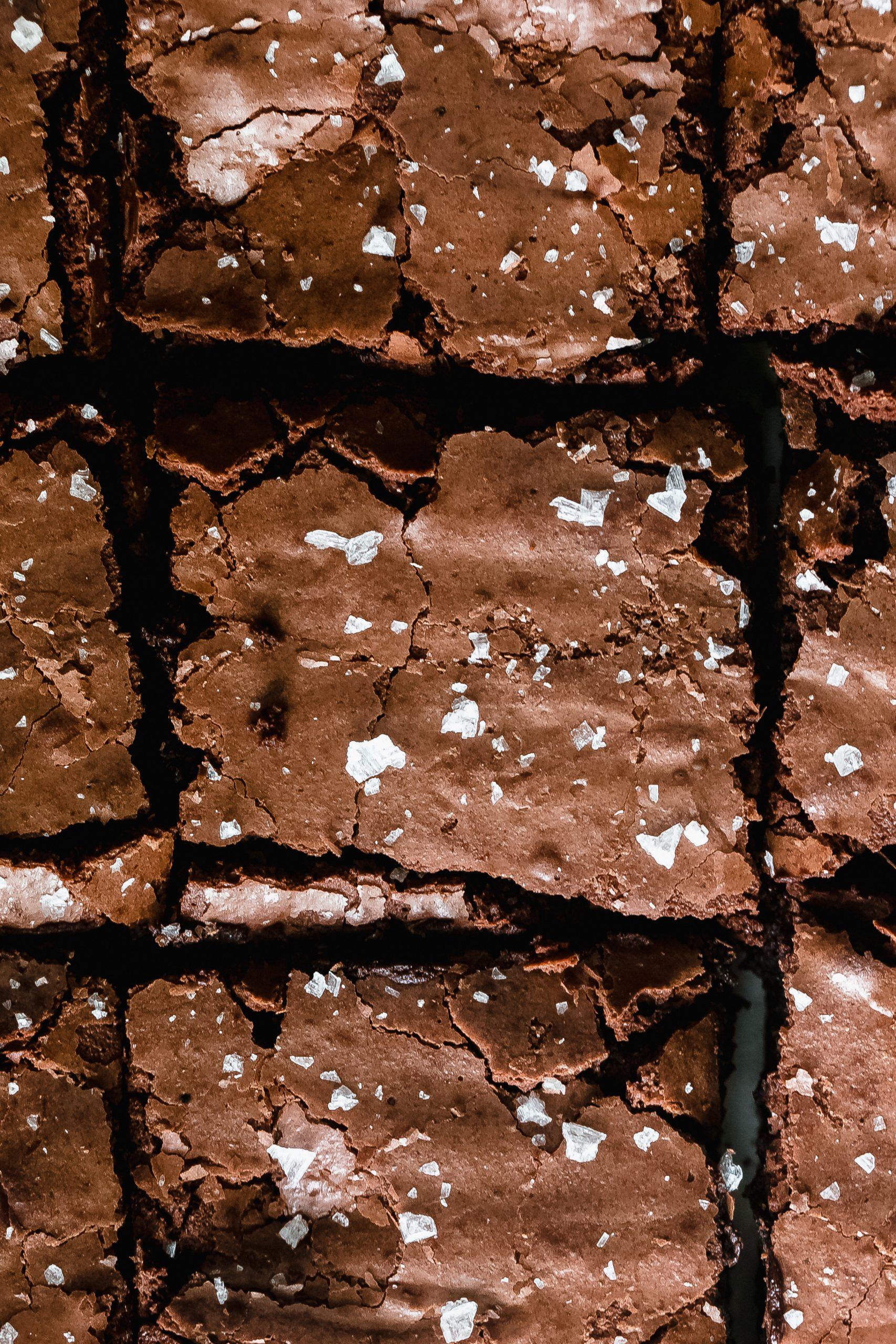 pieces of salted fudge brownie in pan