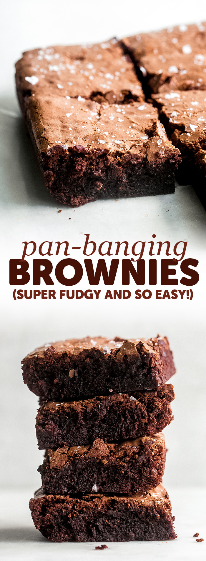 Pan-Banging Salted Fudge Brownies - These brownies are the most delicious intense fudge brownies ever! They contain no leavening agents and create the best better-than-box-mix, from-scratch brownies! #brownies #fudgebrownies #bestbrownies #browniesrecipe #bestfudgebrownies | Littlespicejar.com