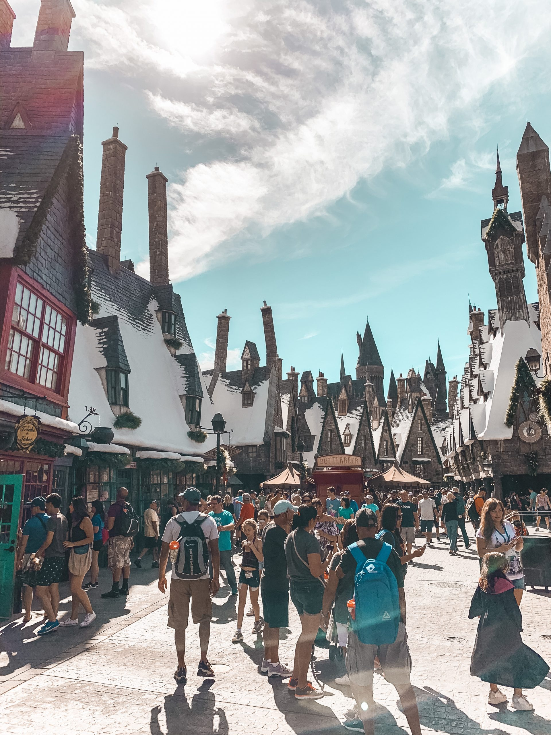 walking through Hogsmeade at the Wizarding World of Harry Potter