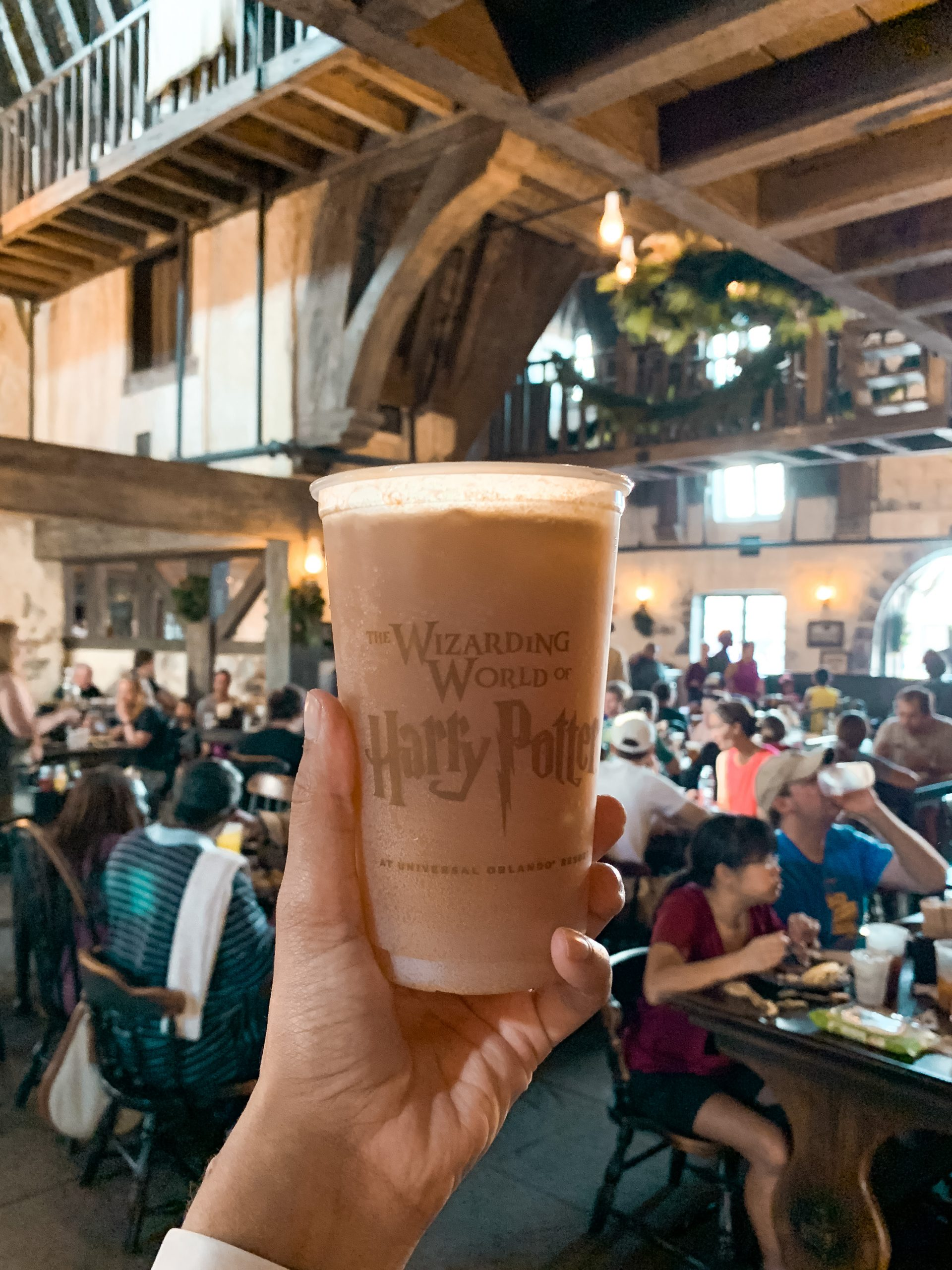 Pumpkin Juice inside the Three Broomsticks at the Wizarding World of Harry Potter