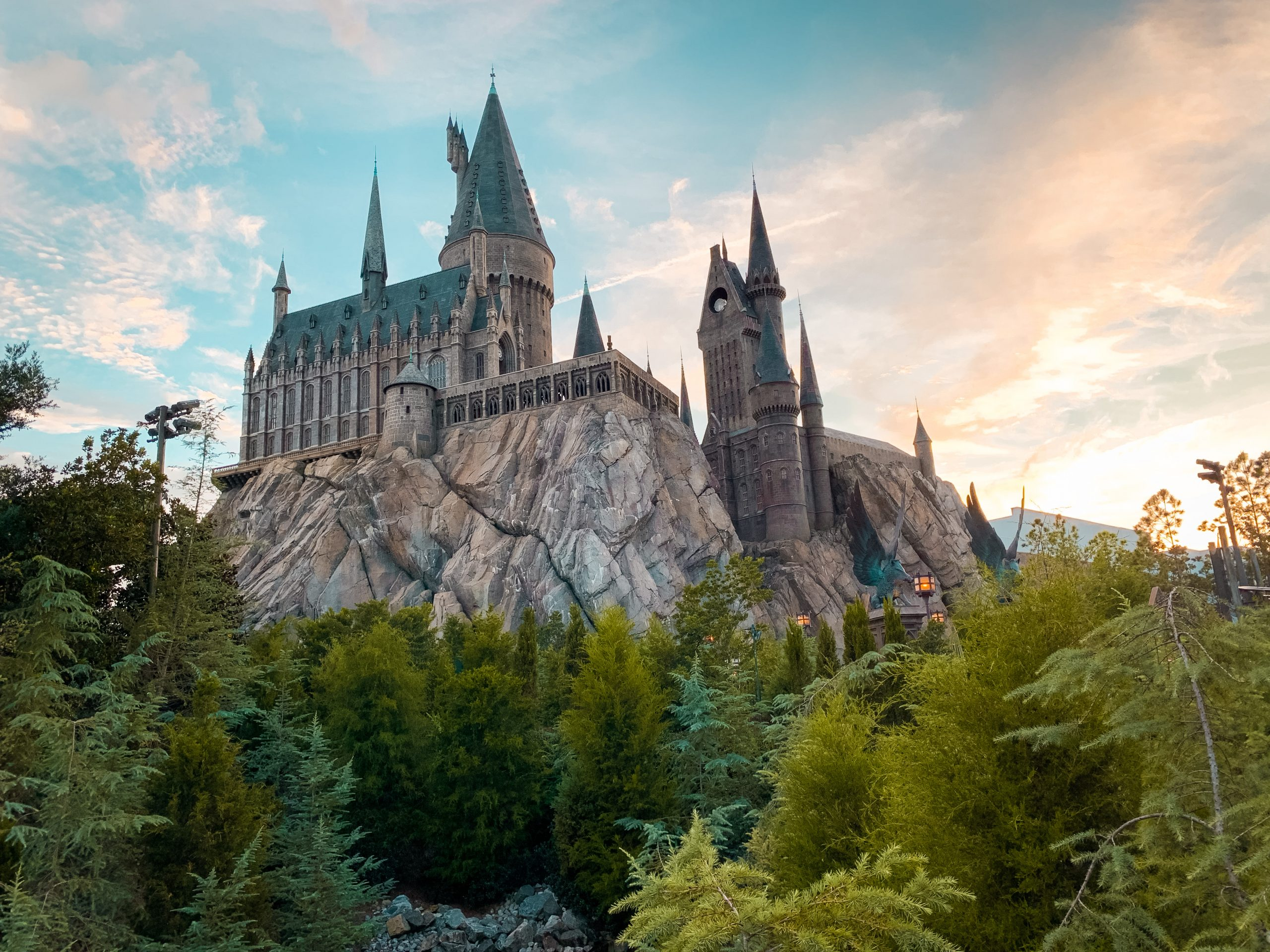 Hogwarts at sunset at the Wizarding World of Harry Potter in Universal Studios Orlando