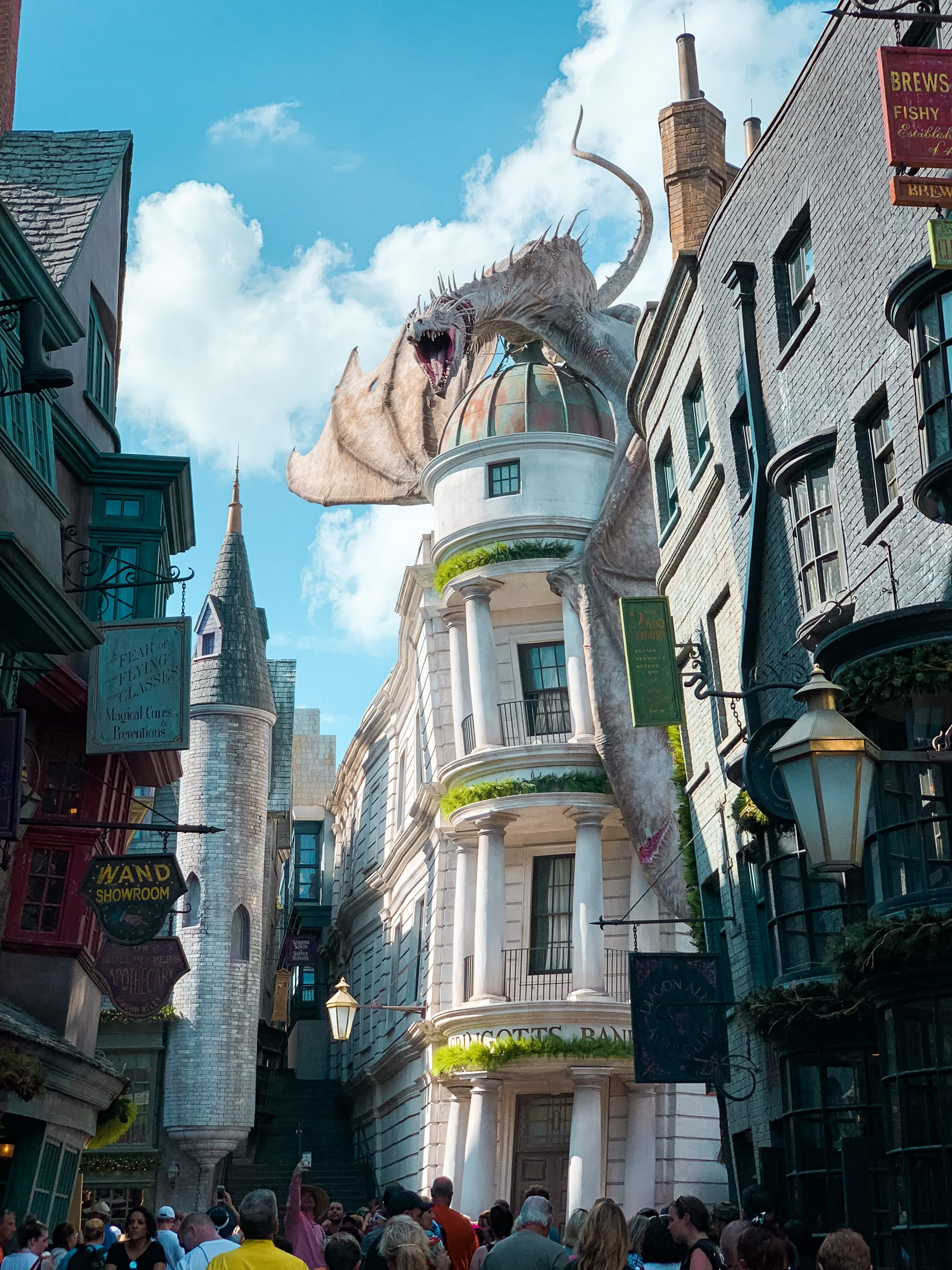 Gringotts Bank with a dragon on top at Universal Studios Orlando