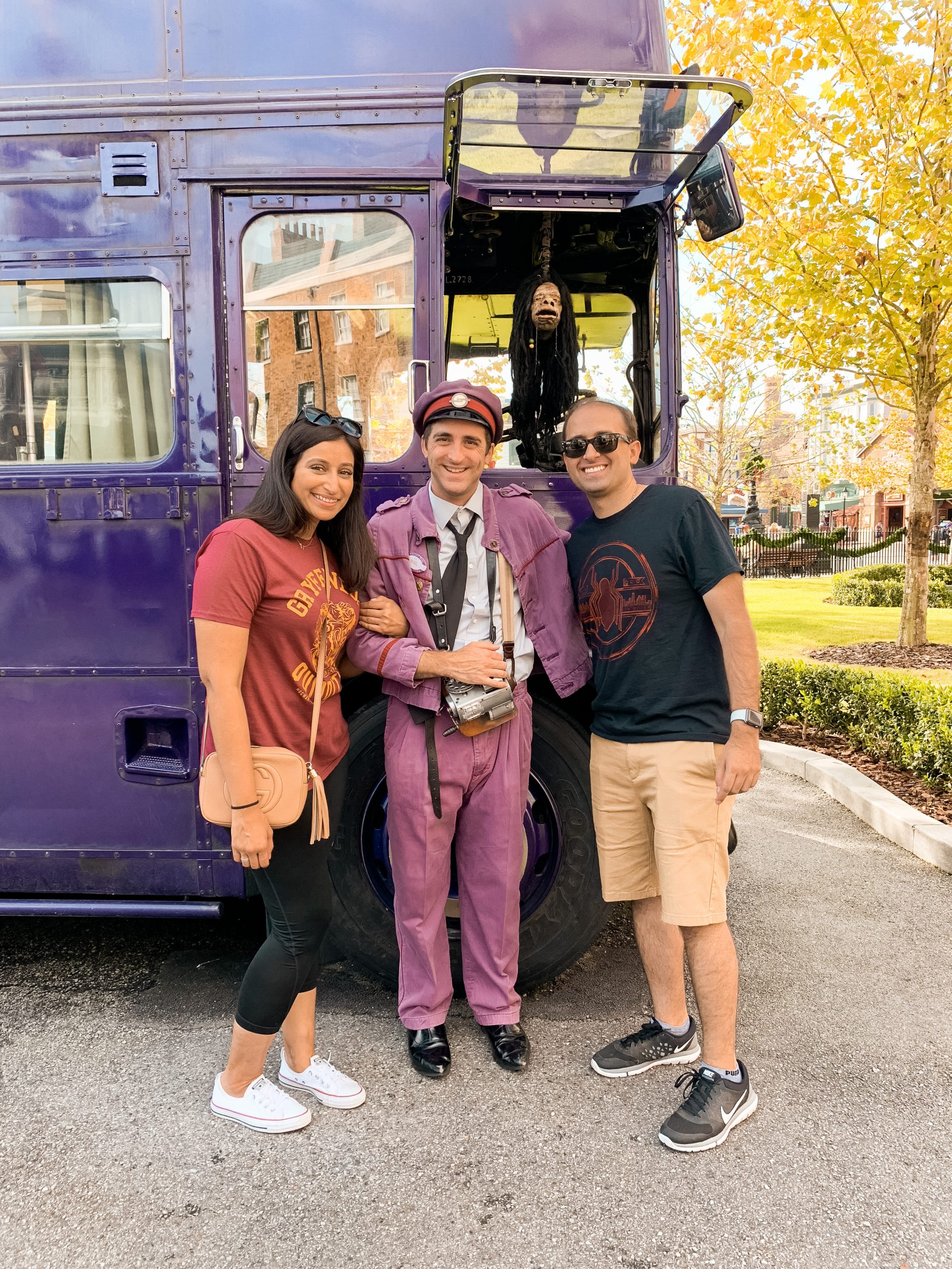 Picture of me and hubby with Stan of the Nightbus at Harry Potter World Universal Studios Orlando