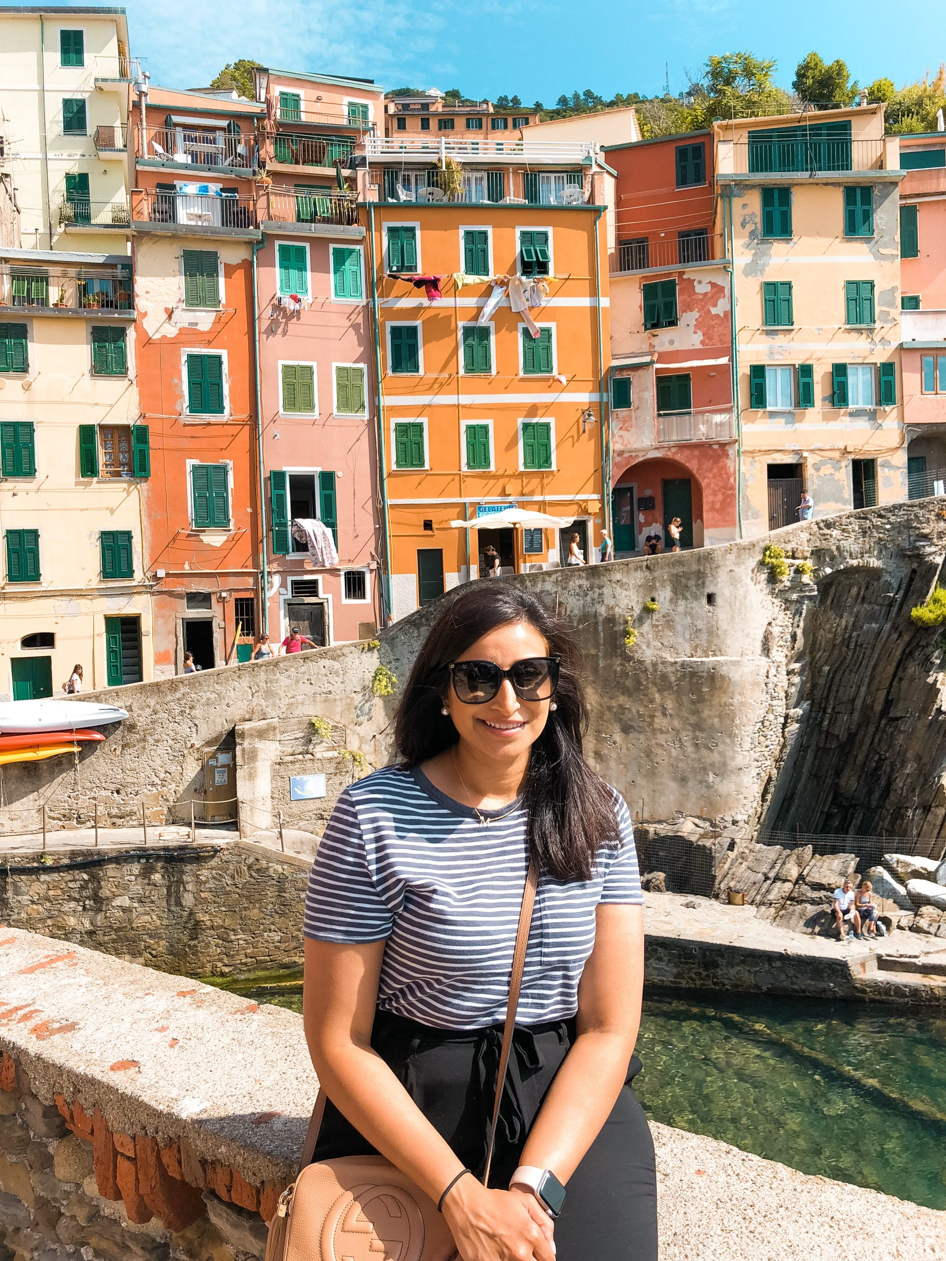 colorful buildings behind me near the water on Riomaggiore