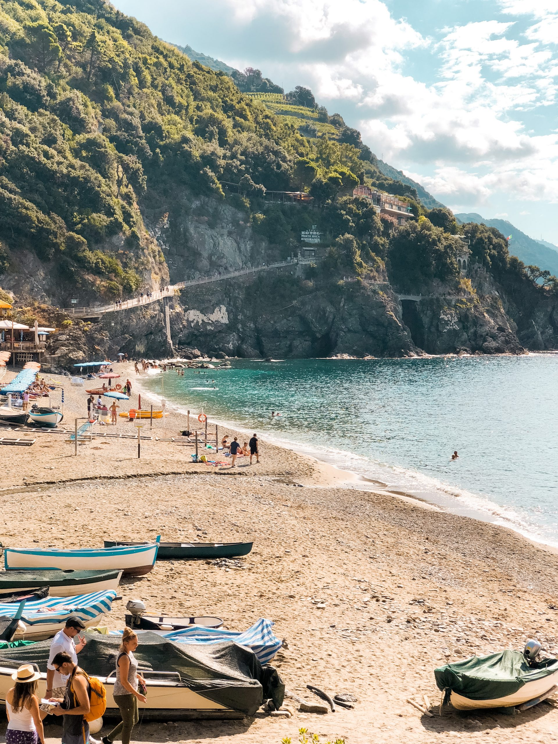 a cliff along the beachside at Monterosso al Mar