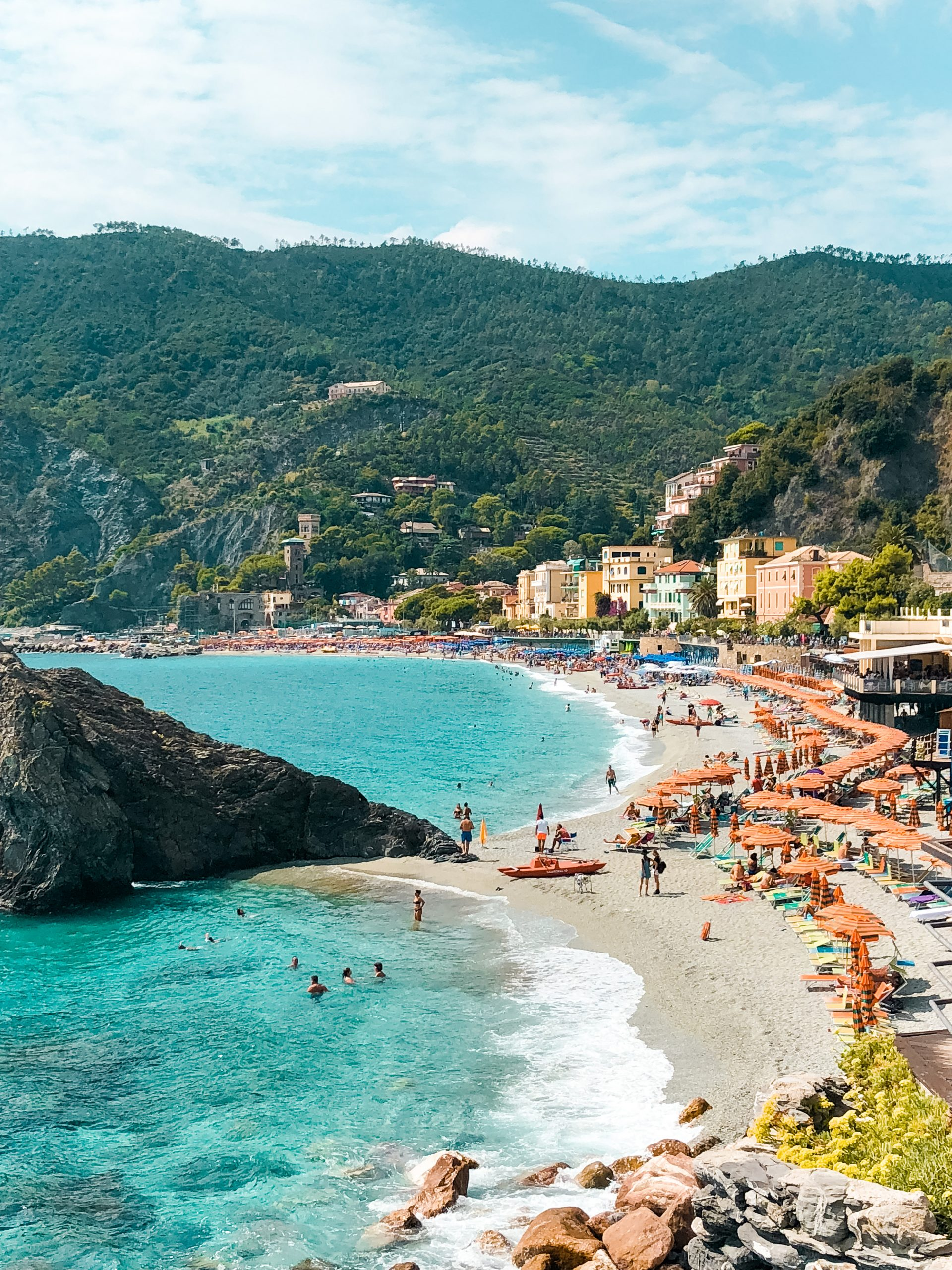 beachside lined with orange umbrellas on Monterreso