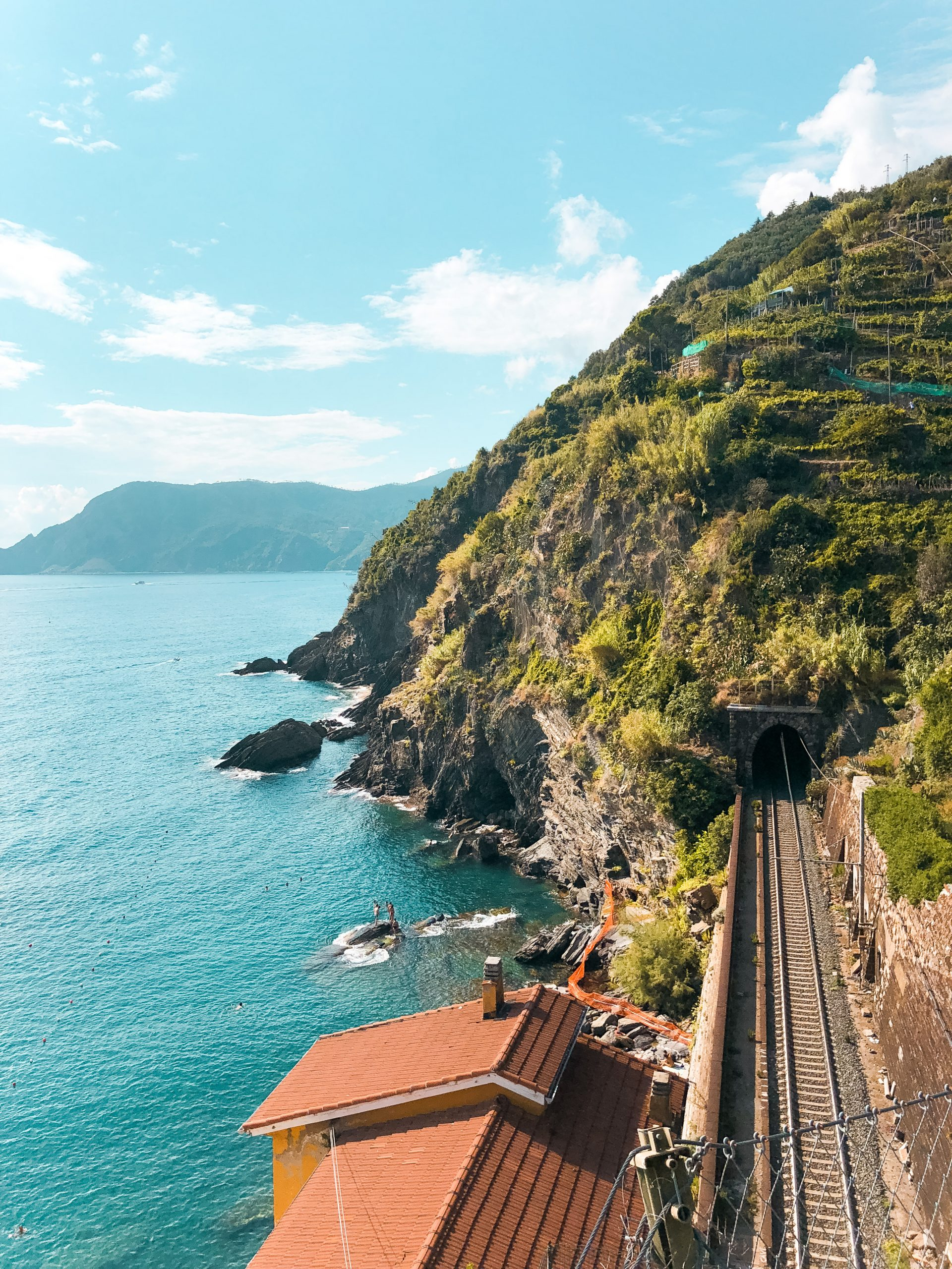 the view from the train station from one of the fishing villages of Cinque Terre