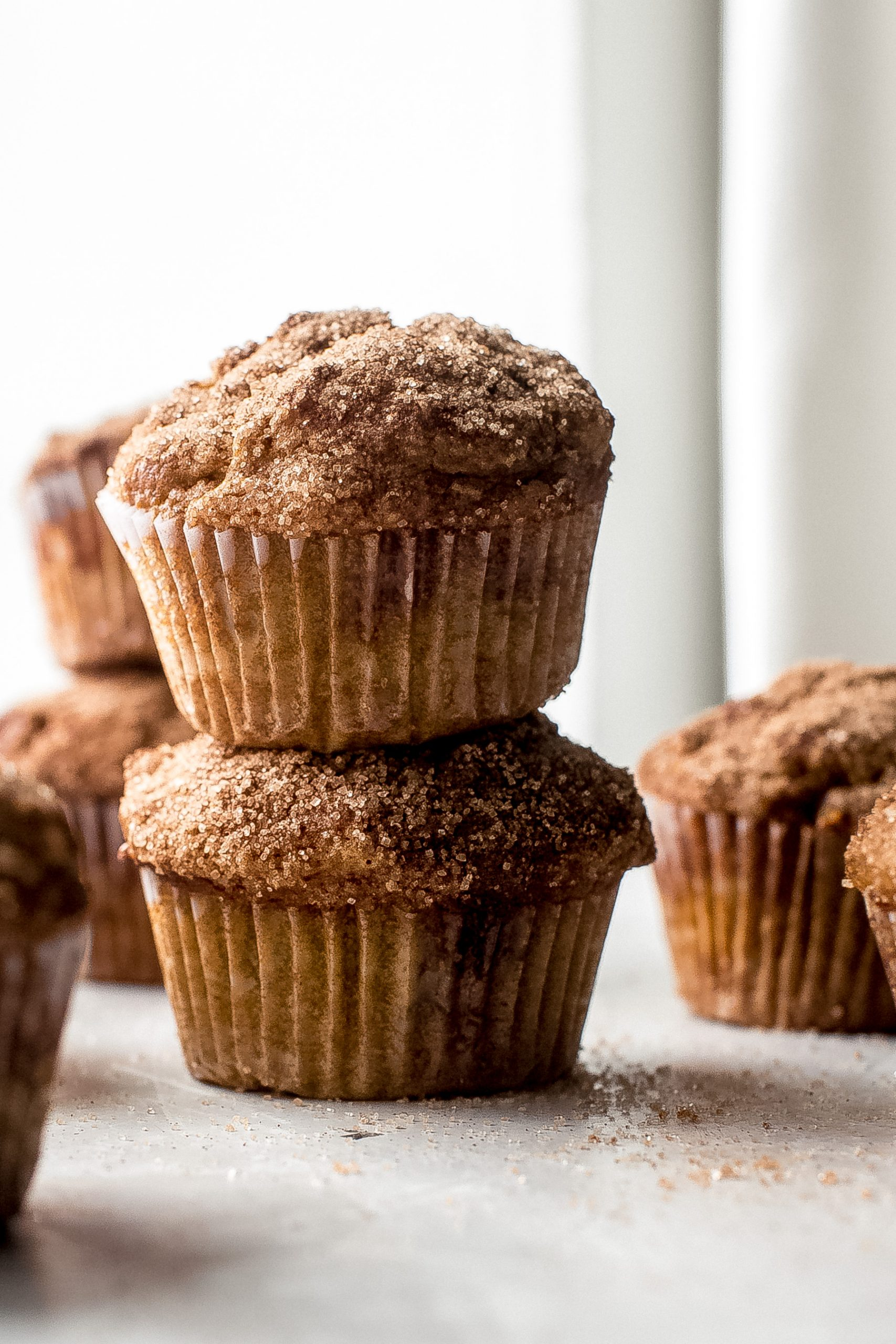 stack of two pumpkin muffins