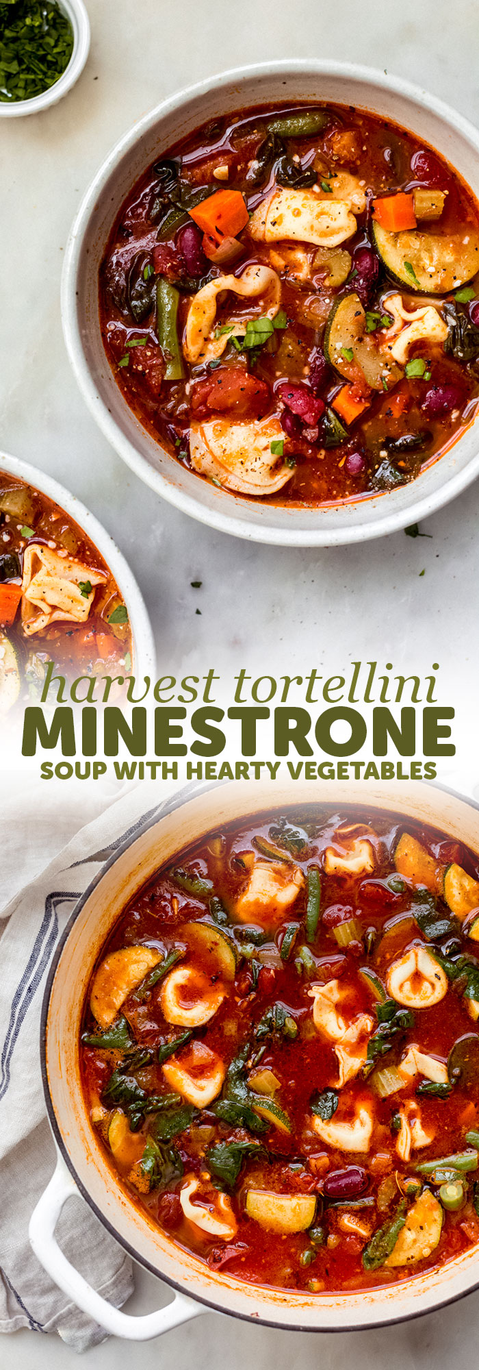 Fire-roasted Tortellini Minestrone Soup - a quick and hearty take on the traditional minestrone. Mine is a stove-top version that uses tortellini instead of pasta. Great for boxed lunches or as a starter to dinner guests! #minestronesoup #tortellini #tortelliniminestrone #minstrone #vegetablesoup | Littlespicejar.com