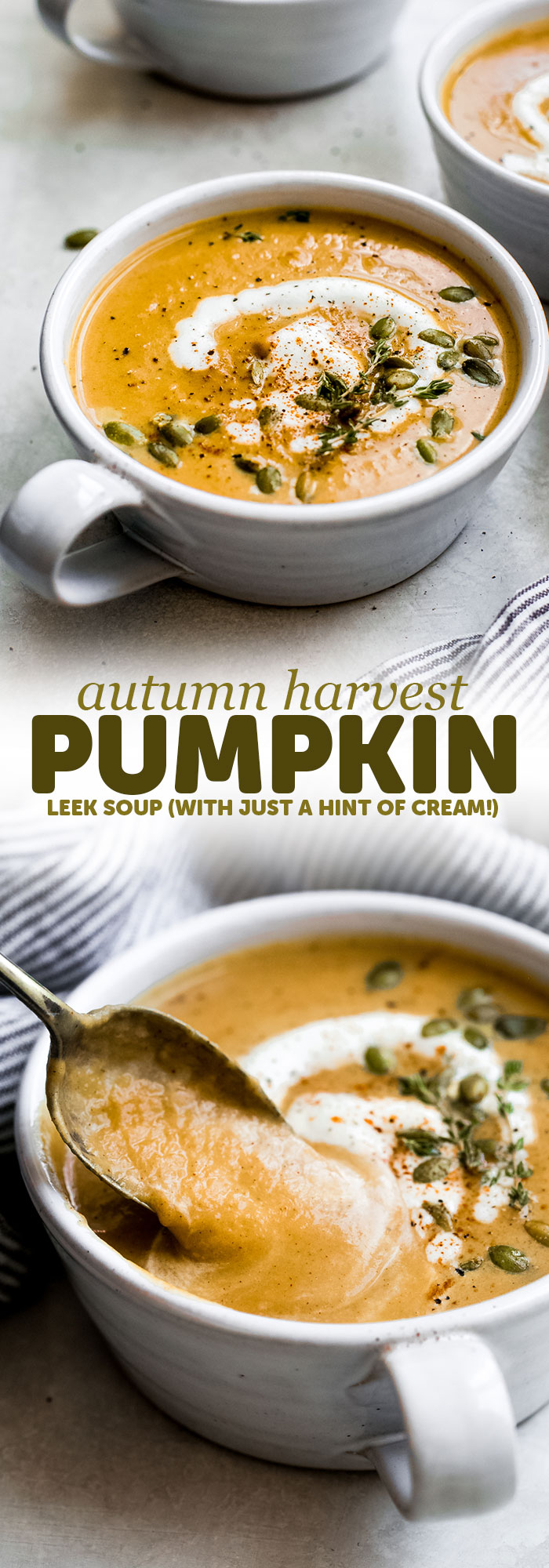 Harvest Pumpkin Leek Soup is a quick and easy soup I love throwing together! It's loaded with warm, autumn flavors and is silky smooth. The hint of cream really takes this over the top! Perfect for fall lunches or as an appetizer for Thanksgiving! #pumpkinsoup #butternutsquashsoup #soup #easysoup #souprecipe | Littlespicejar.com