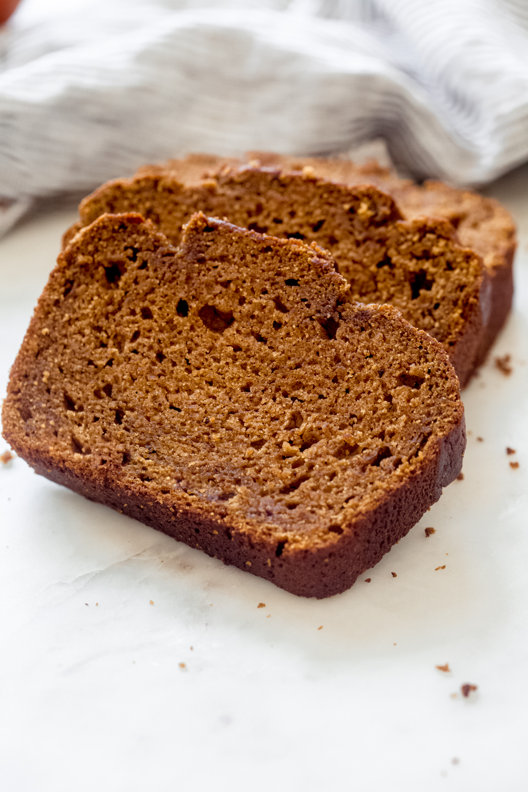 thick slices of brown butter pumpkin bread
