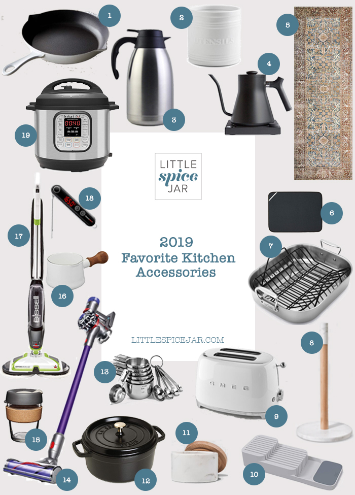 2019 favorite kitchen accessories collage with all items