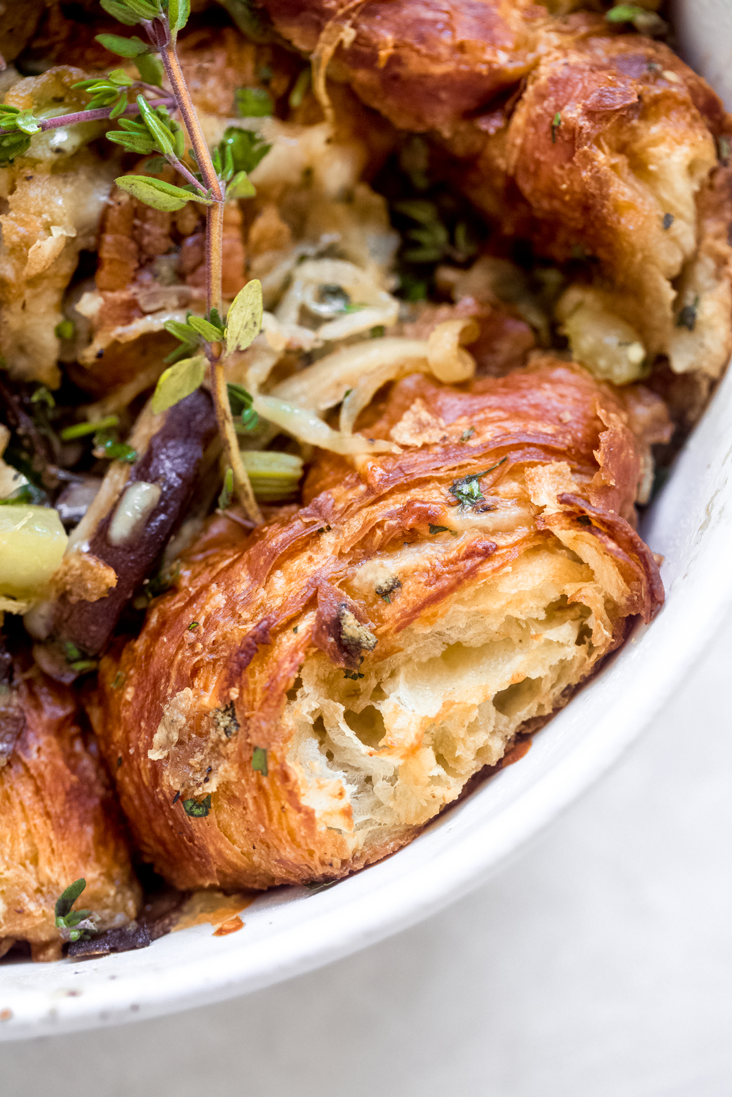 close up of croissant stuffing