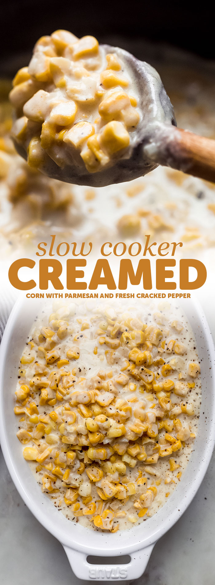 Slow cooker creamed corn is the perfect side dish for the Thanksgiving table! Made with sweet tender kernels of corn, in a velvety smooth parmesan cream sauce. It comes together in a slow cooker and you can customize it however you like! #creamedcorn #thanksgiving #sidedishes #slowcookercreamedcorn #easysides #christmas | Littlespicejar.com