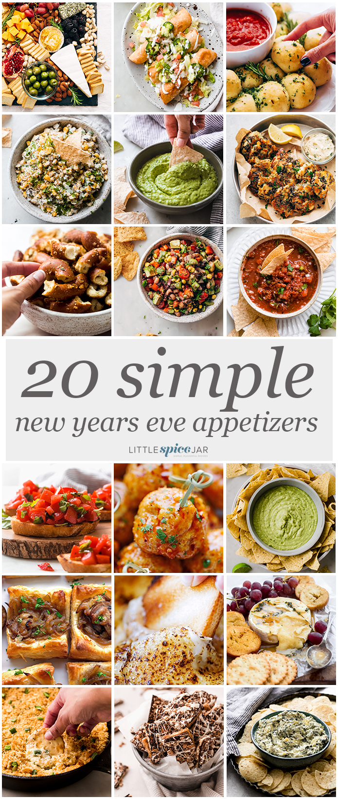 a collage with a picture of all the 20 appetizers shared in this post