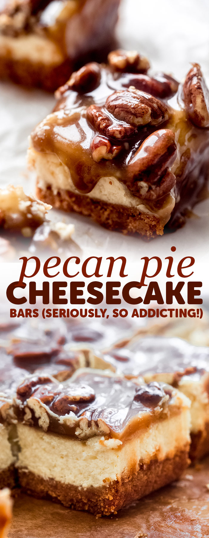 Pecan Pie Cheesecake Bars - Learn how to make the best cheesecake bars topped with pecan pie topping! These bars are absolutely addicting! #cheesecakebars #cheesecake #pecanpiebars #pecanpiecheesecakebar #christmas #thanksgiving #dessert | Littlespicejar.com