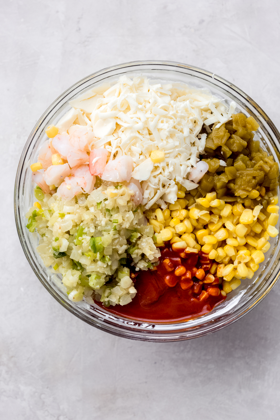 bowlful of all the chipotle corn dip ingredients