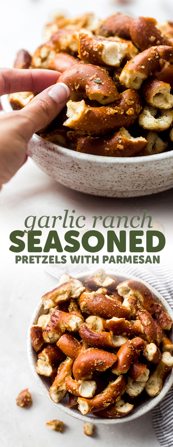 Parmesan Garlic Ranch Seasoned Pretzels - Learn how to make the most addicting parmesan garlic ranch seasoned pretzels. We use large hard pretzels and season them with a garlic ranch butter and bake them until they are crispy and golden! #pretzelpieces #seasonedpretzels #homemadepretzelmix #holiday #christmas | Littlespicejar.com