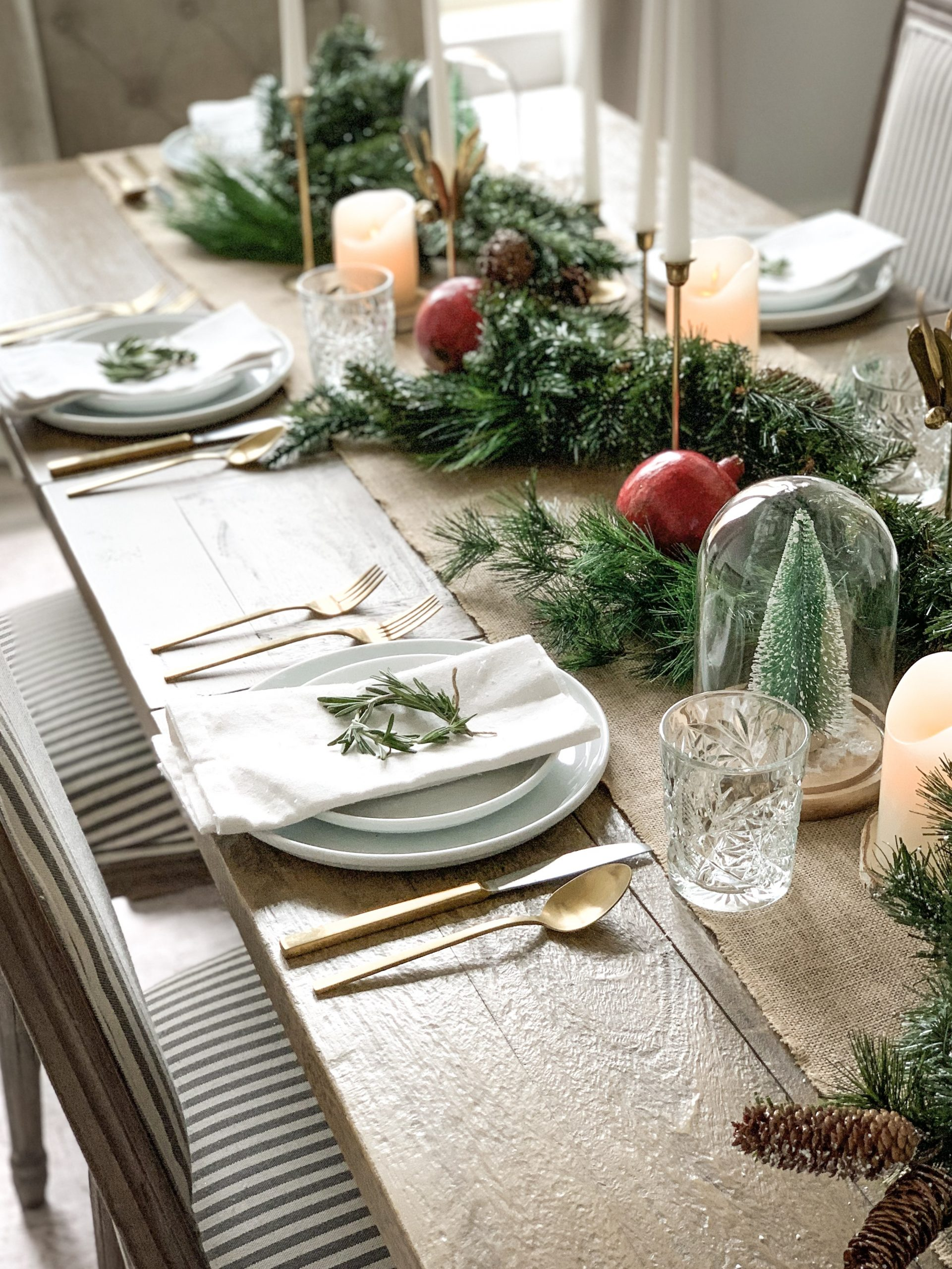 close up of place setting with woodsy holiday tablesccape