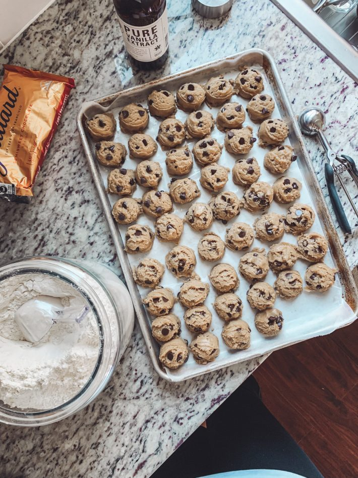 sheet pan with chocolate chip cookies