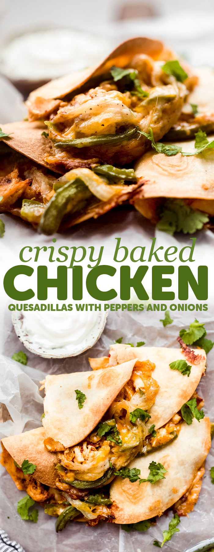 Crispy Baked Chicken Quesadillas - loaded with peppers, onions, creamy chicken and baked until they're crispy and melty! #bakedquesadillas #chickenquesadillas #quesadillas #bakedchickenquesadillas #cincodemayorecipes #superbowlrecipes | Littlespicejar.com