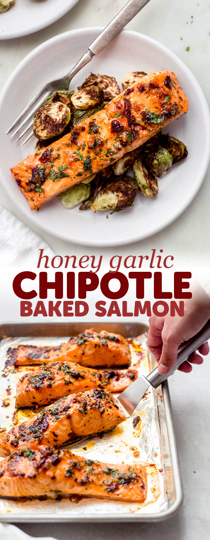 Garlic Honey Chipotle Salmon - a simple salmon recipe that takes just 5 minutes of prep work! Bake the salmon and serve with just about any side! #lowcarbrecipes #salmonrecipes #mealpreprecipes #mealprep #salmon #bakedsalmon #bakedsalmoninfoil | Littlespicejar.com