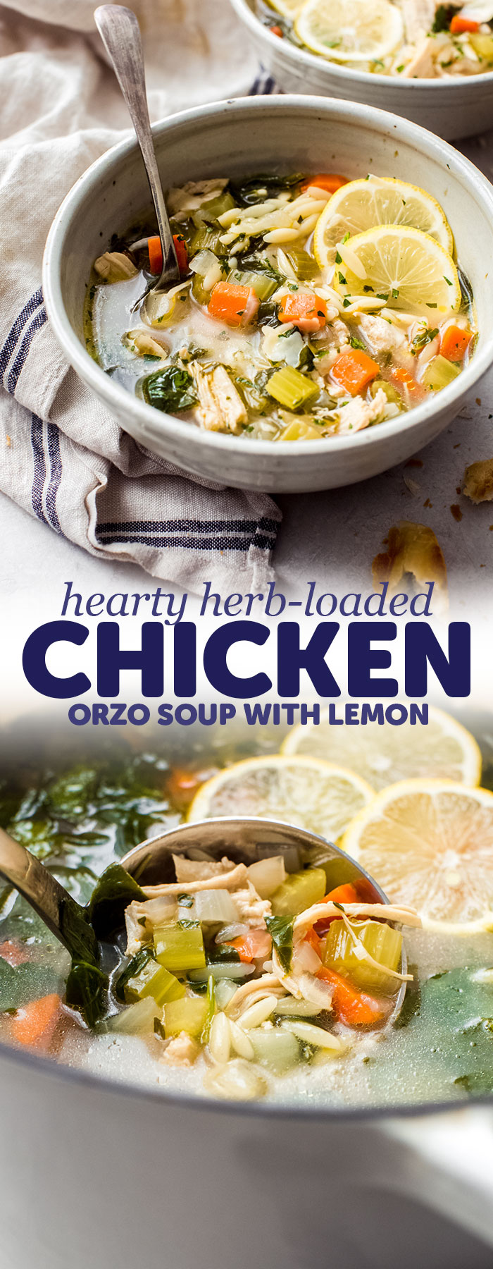 Herb-Loaded Lemon Chicken Orzo Soup - A hearty yet light herb-loaded lemon chicken orzo soup that is sure warm you right up! This soup is cozy and comforting and perfect, especially if you're feeling under the weather! #chickensoup #souprecipes #soup #chickennoodlesouprecipe | Littlespicejar.com